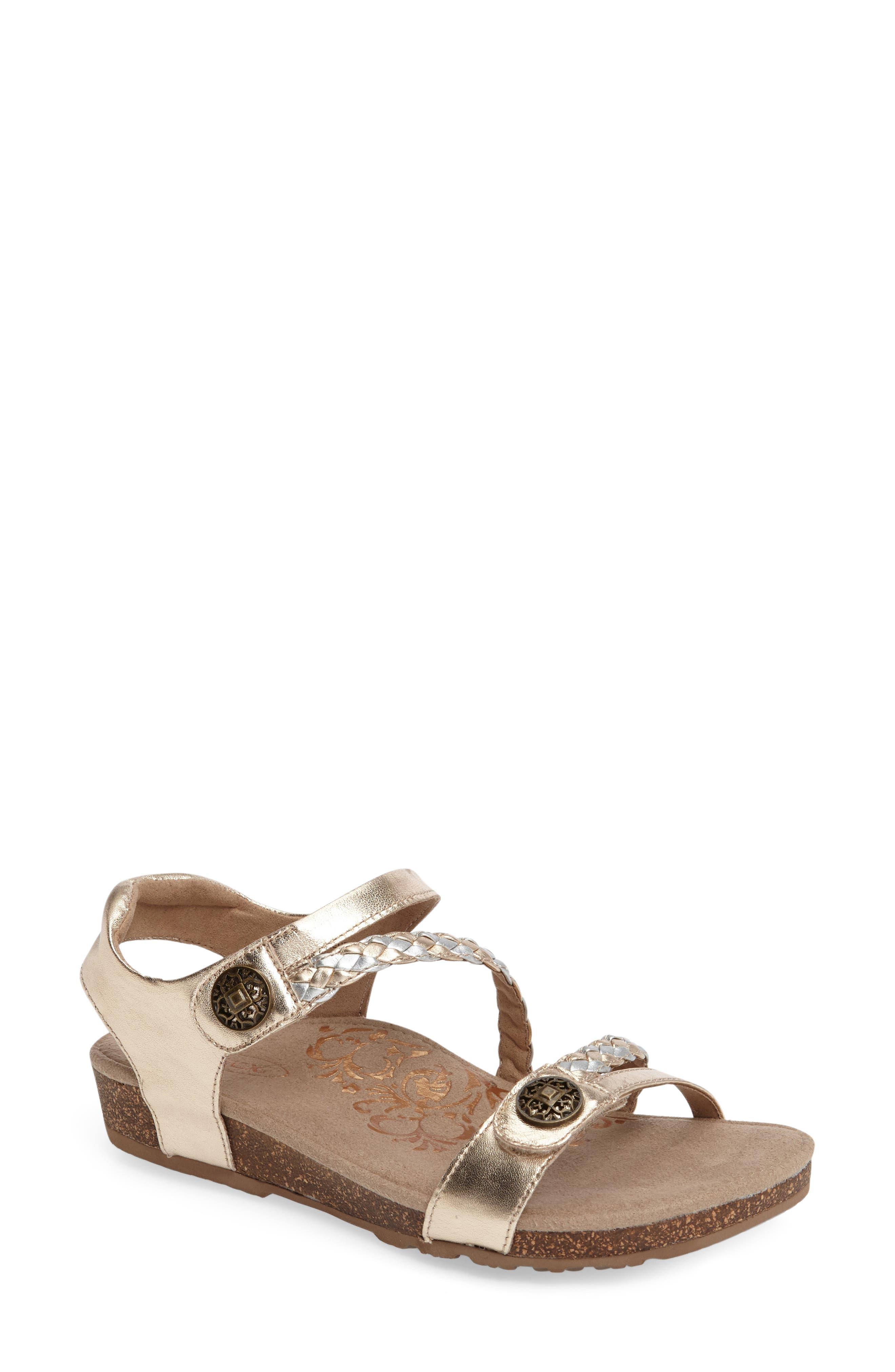 Alternate Image 1 Selected - Aetrex 'Jillian' Braided Leather Strap Sandal (Women)