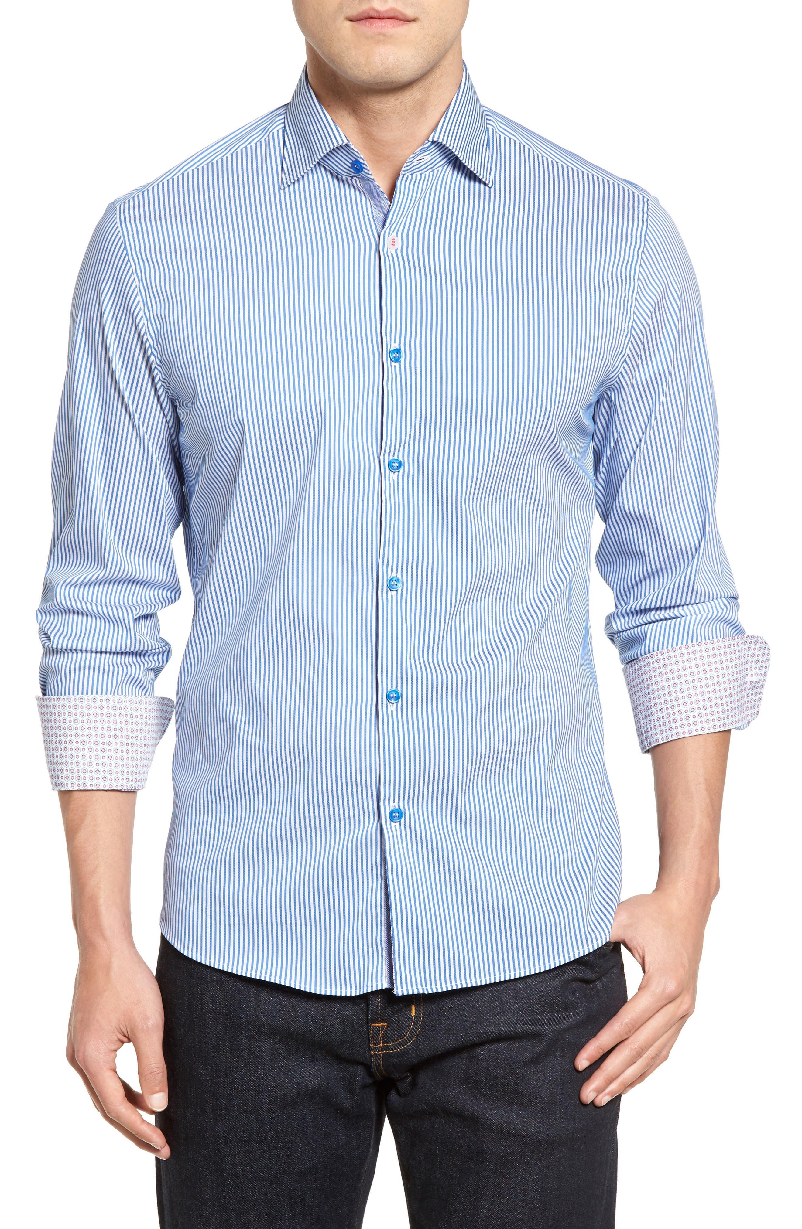 Technical Stripe Sport Shirt,                             Main thumbnail 1, color,                             Royal Blue
