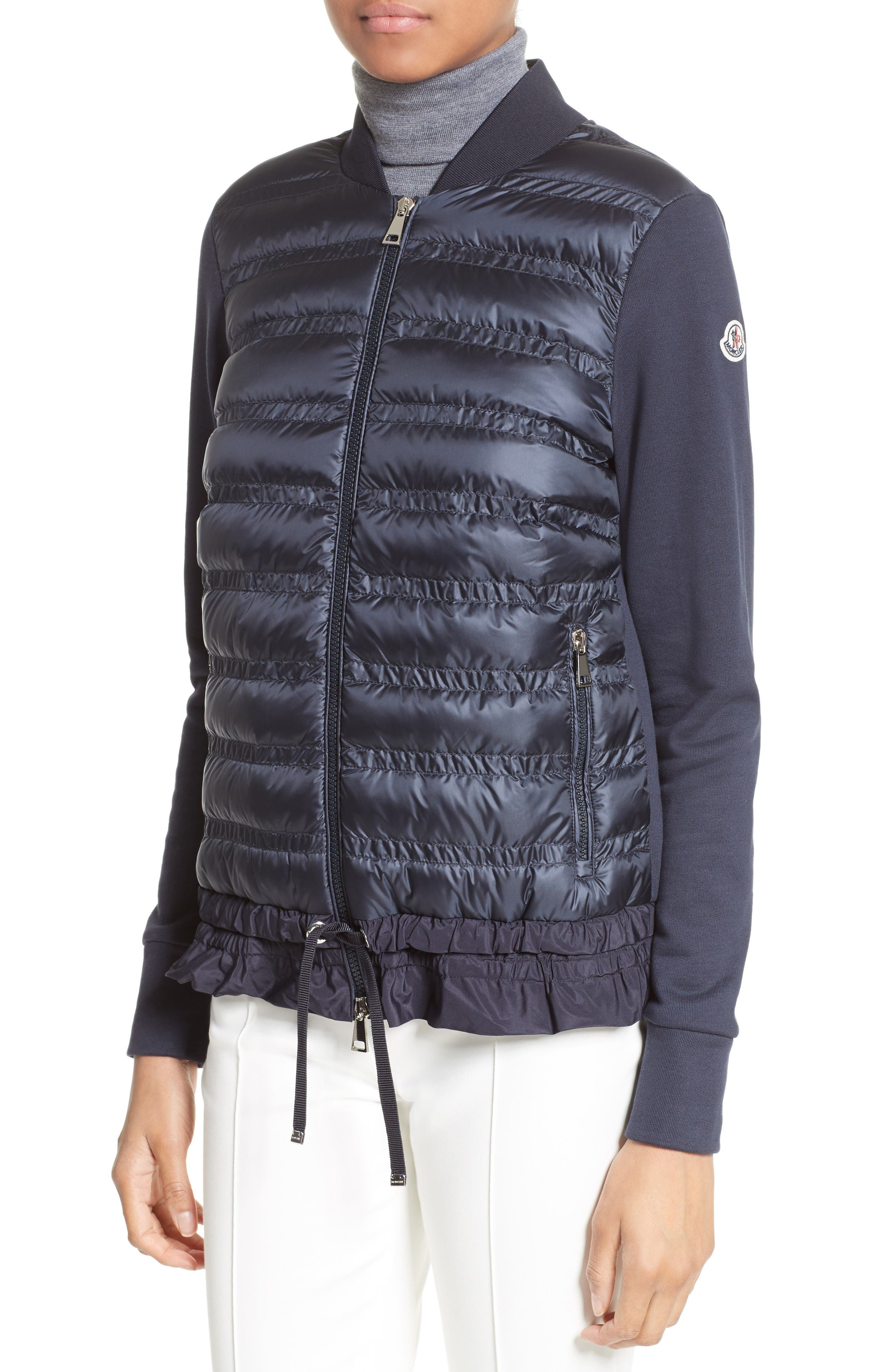Alternate Image 6  - Moncler Maglia Quilted Down Front Tricot Bomber