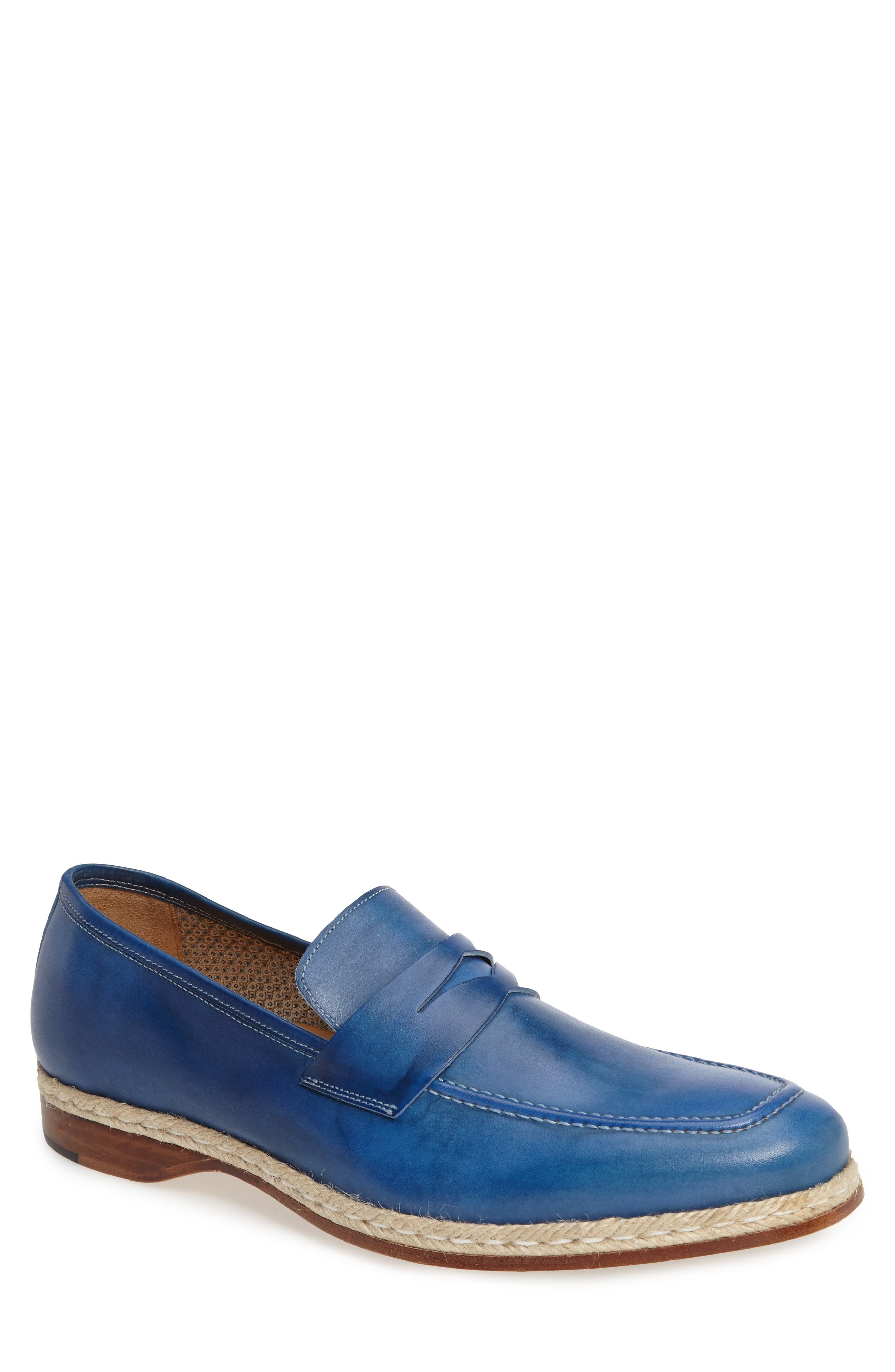 Battani Penny Loafer,                         Main,                         color, Blue Leather