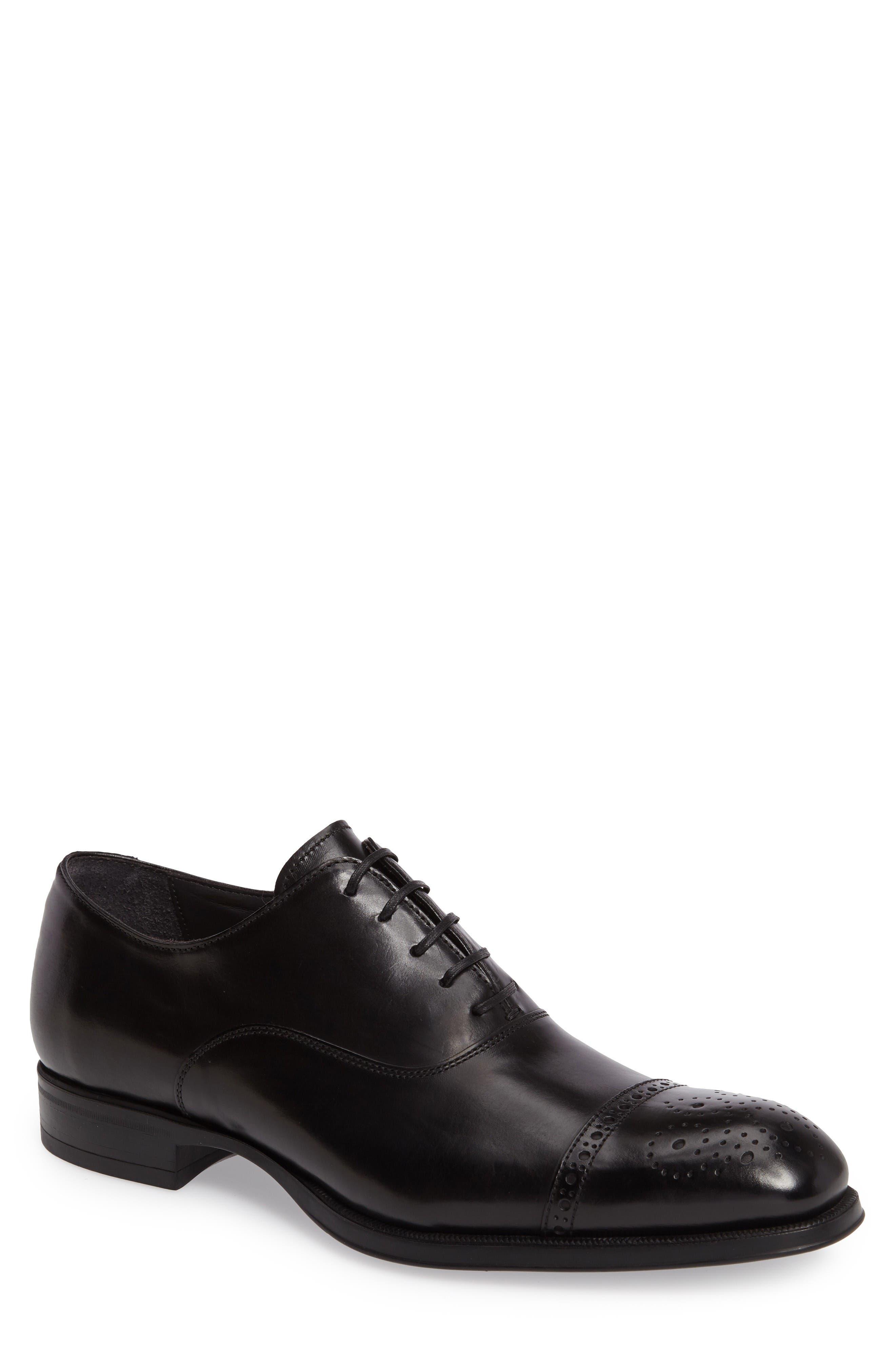 'Justin' Cap Toe Oxford,                             Main thumbnail 1, color,                             Black Leather
