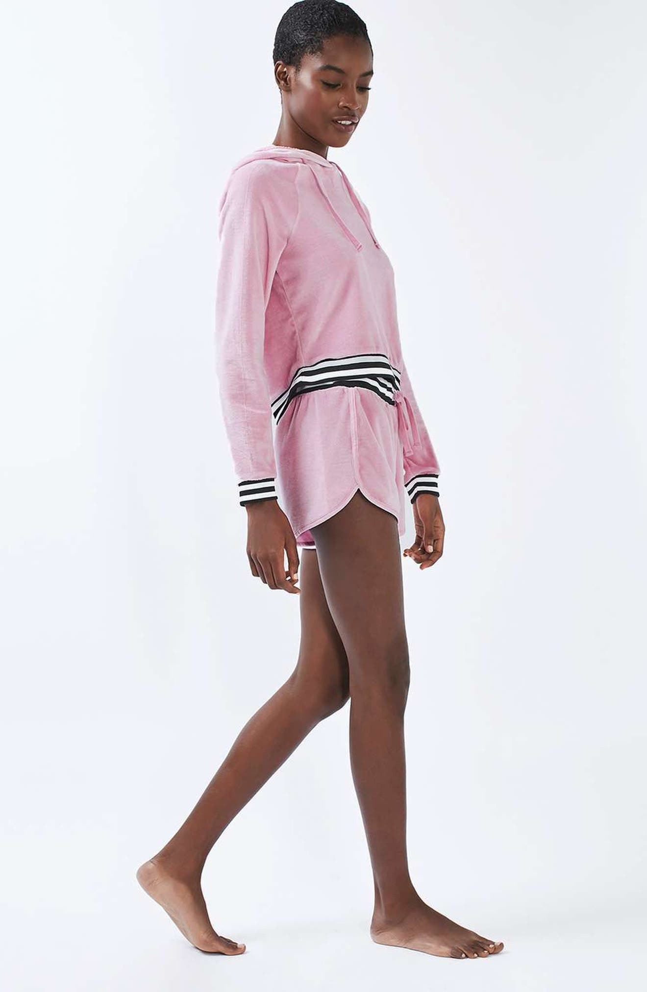 Alternate Image 2  - Topshop Stripe Edge Velour Hoodie
