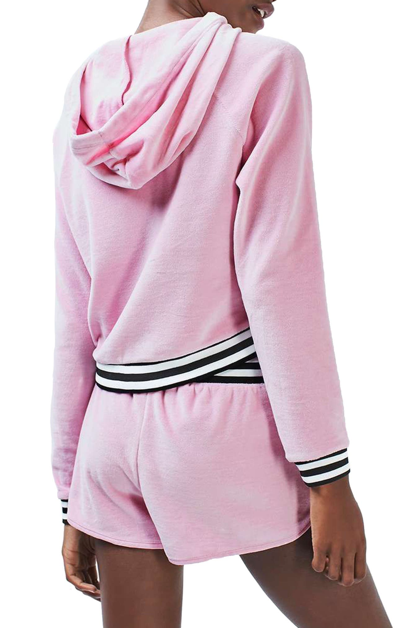 Alternate Image 3  - Topshop Stripe Edge Velour Hoodie
