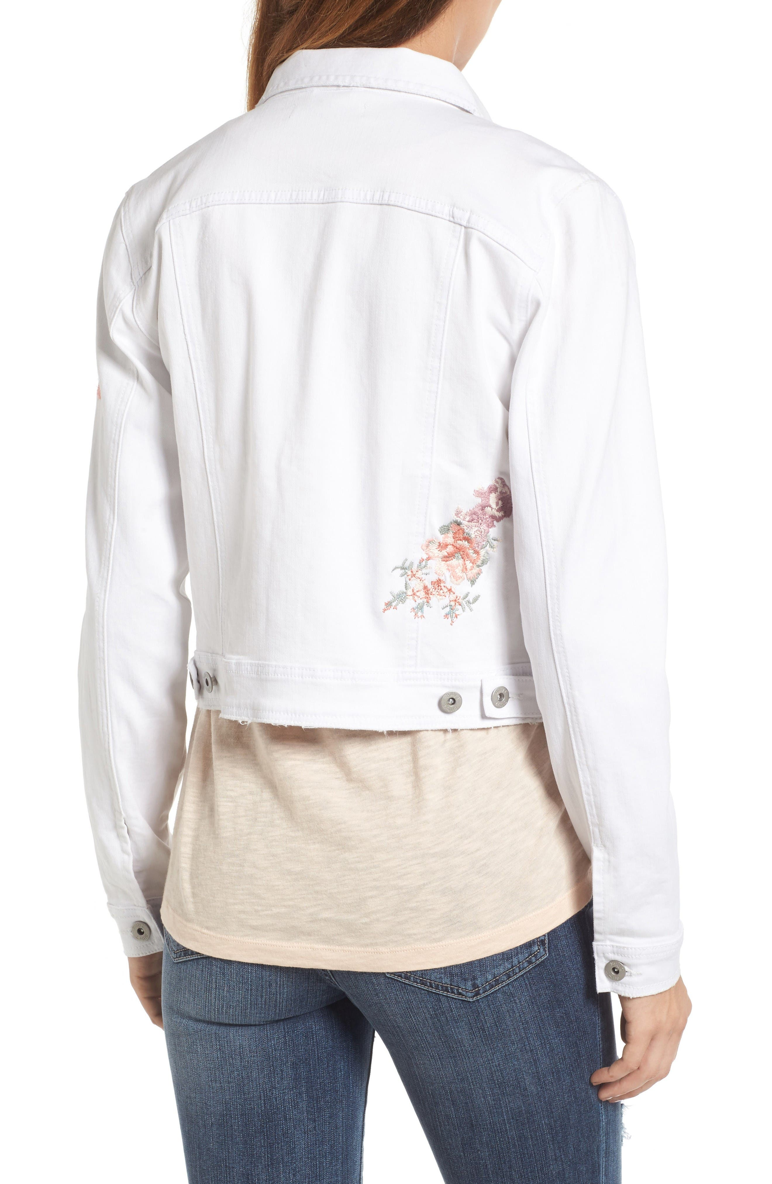 Alternate Image 2  - BILLY T Embroidered White Denim Jacket