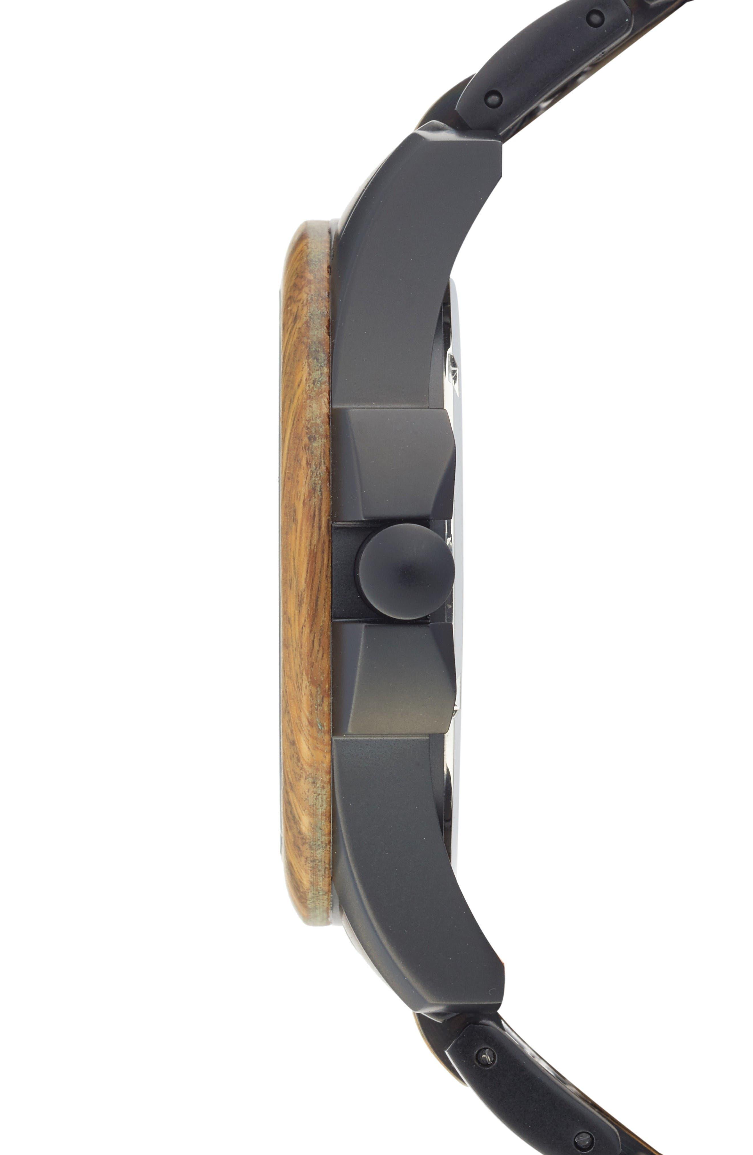 The Classic Bracelet Watch, 43mm,                             Alternate thumbnail 3, color,                             Vera Wood/ Matte Black