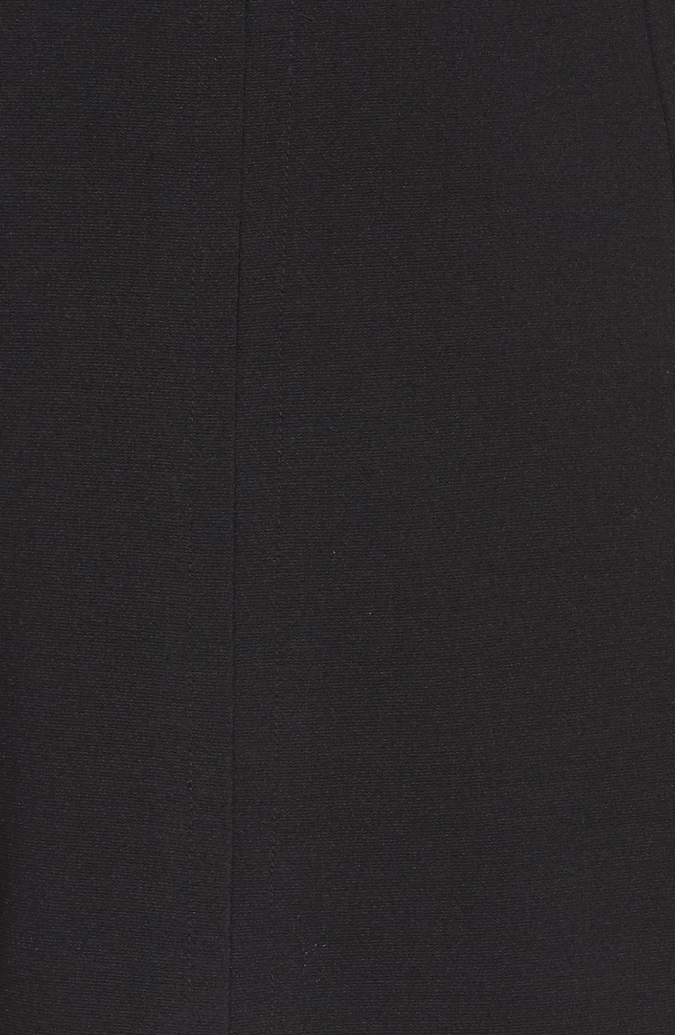 Ponte Fit & Flare Dress,                             Alternate thumbnail 5, color,                             Black/ Ivory
