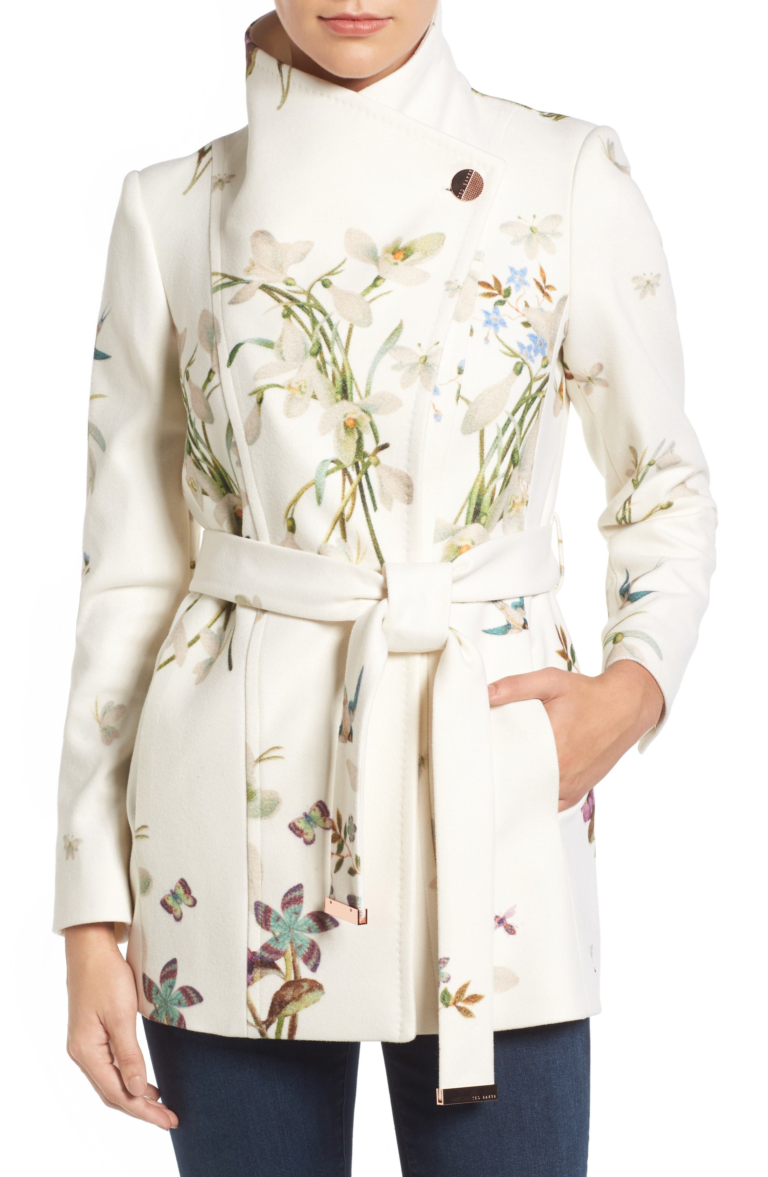 Main Image - Ted Baker London Spring Meadow Wool Blend Wrap Coat