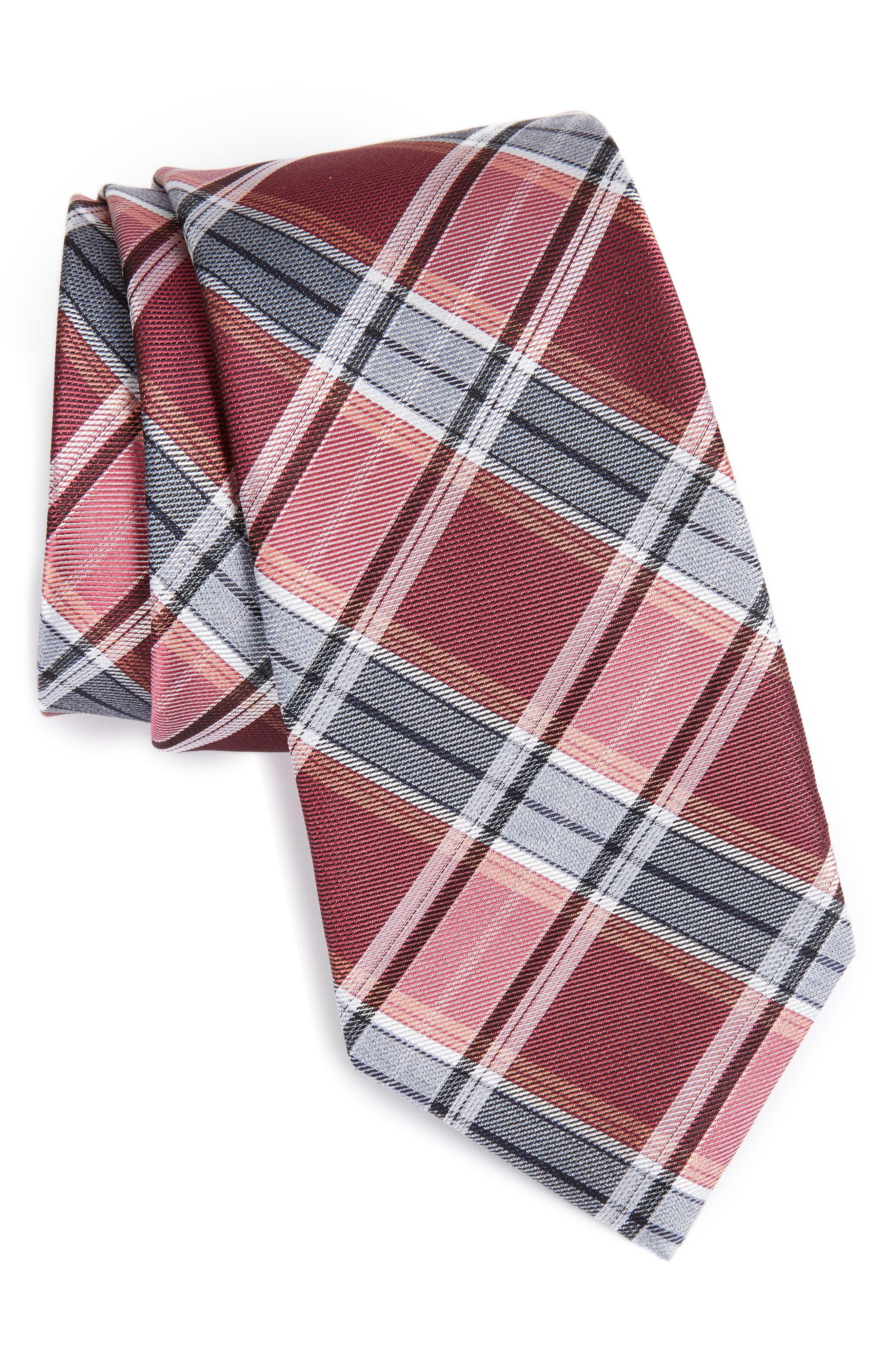 CALIBRATE Schoolboy Plaid Silk Blend Skinny Tie