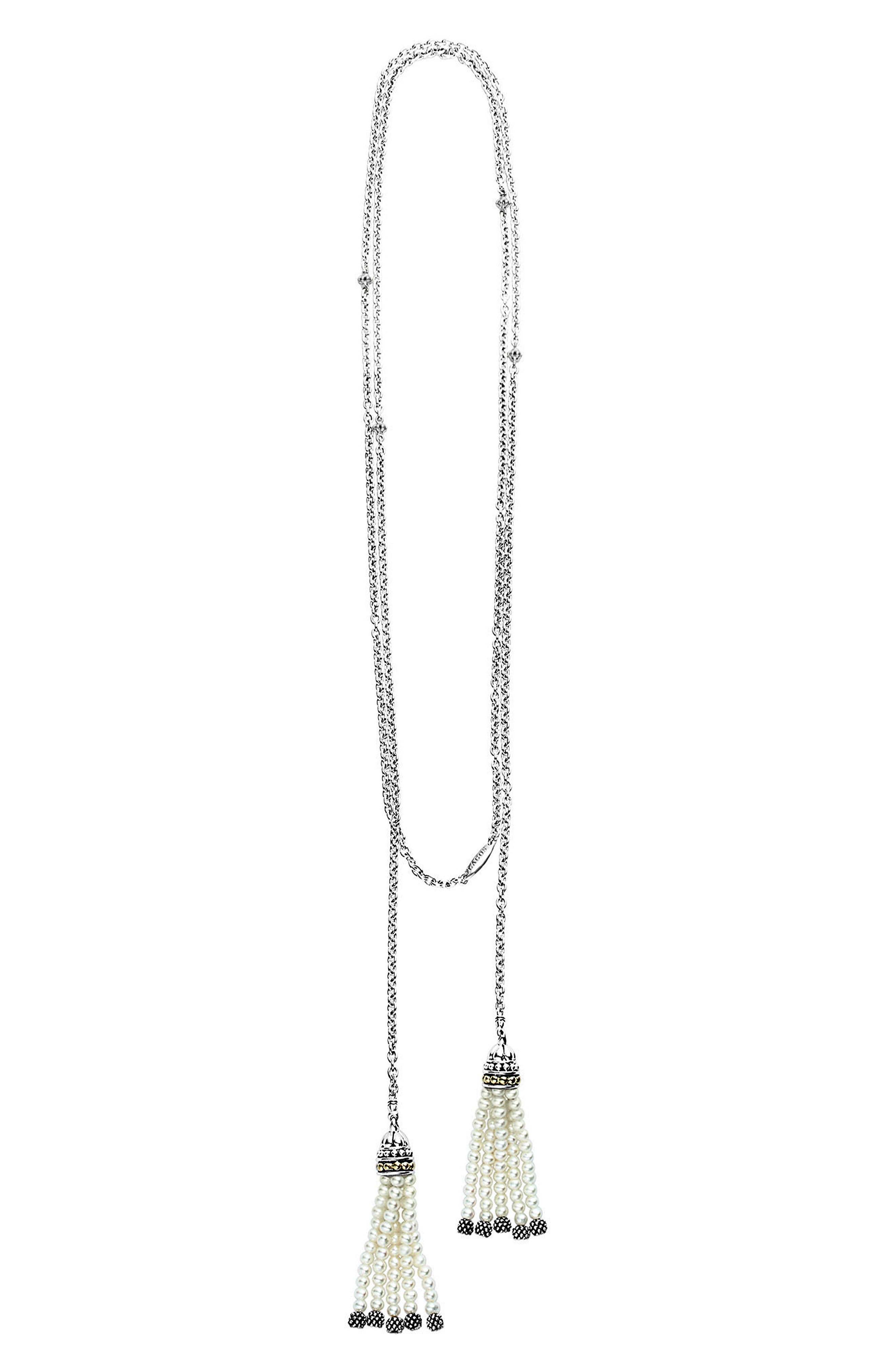 Luna Pearl Tassel Lariat Necklace,                             Alternate thumbnail 2, color,                             Silver/ Pearl