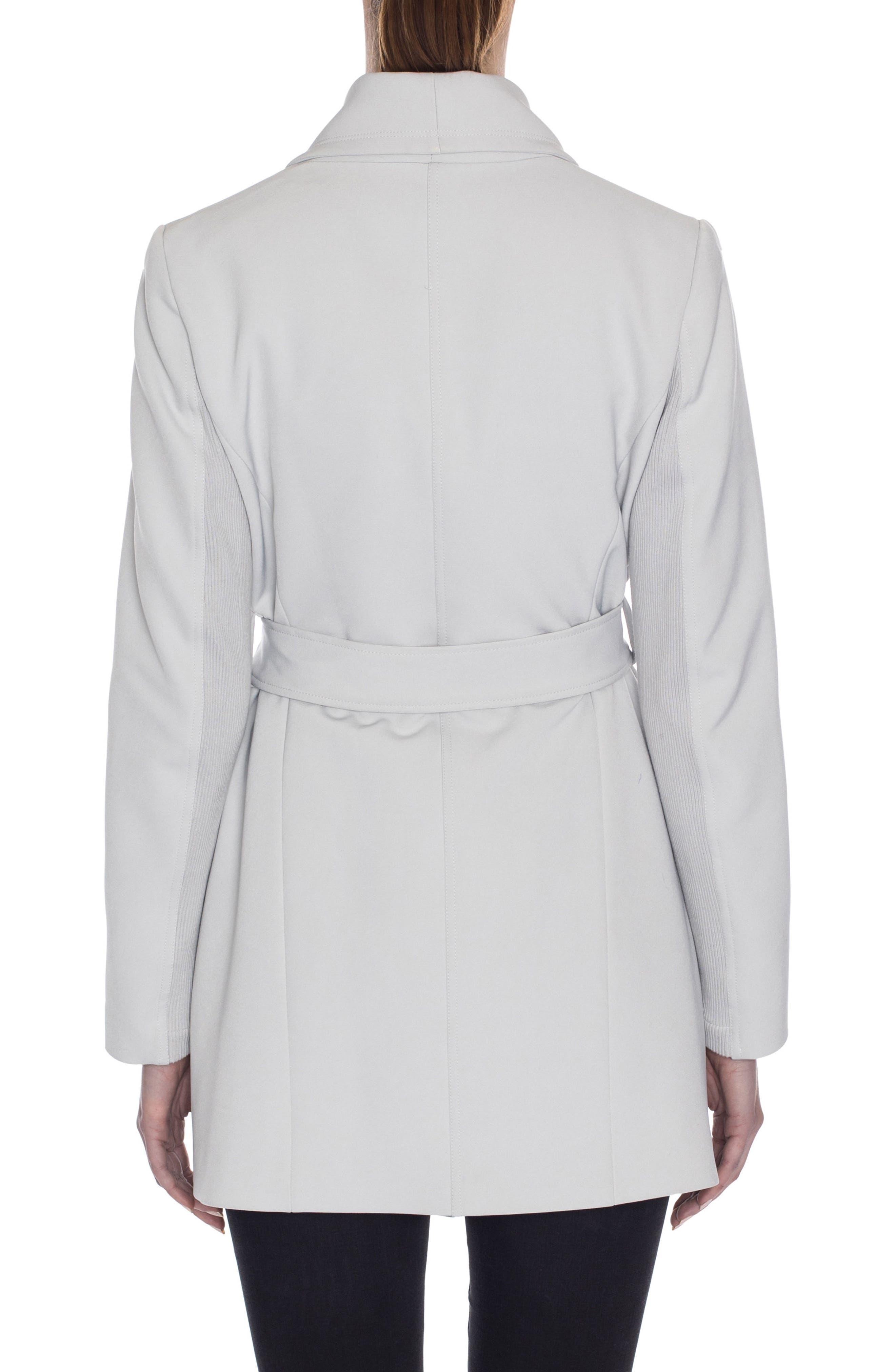 Abbey Draped Collar Wrap Coat,                             Alternate thumbnail 2, color,                             Silver Drop