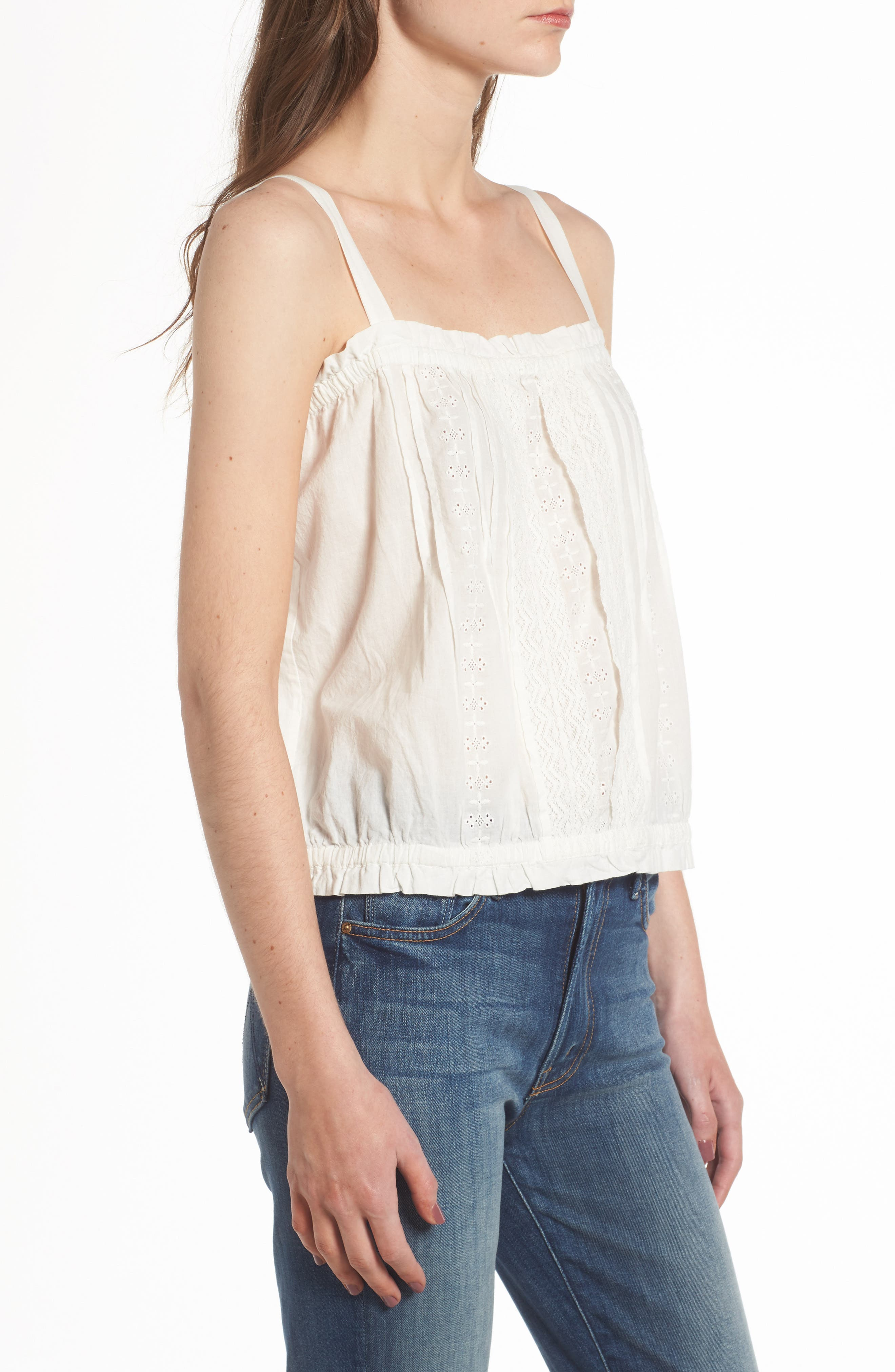The Lace Cotton Tank,                             Alternate thumbnail 4, color,                             Star White