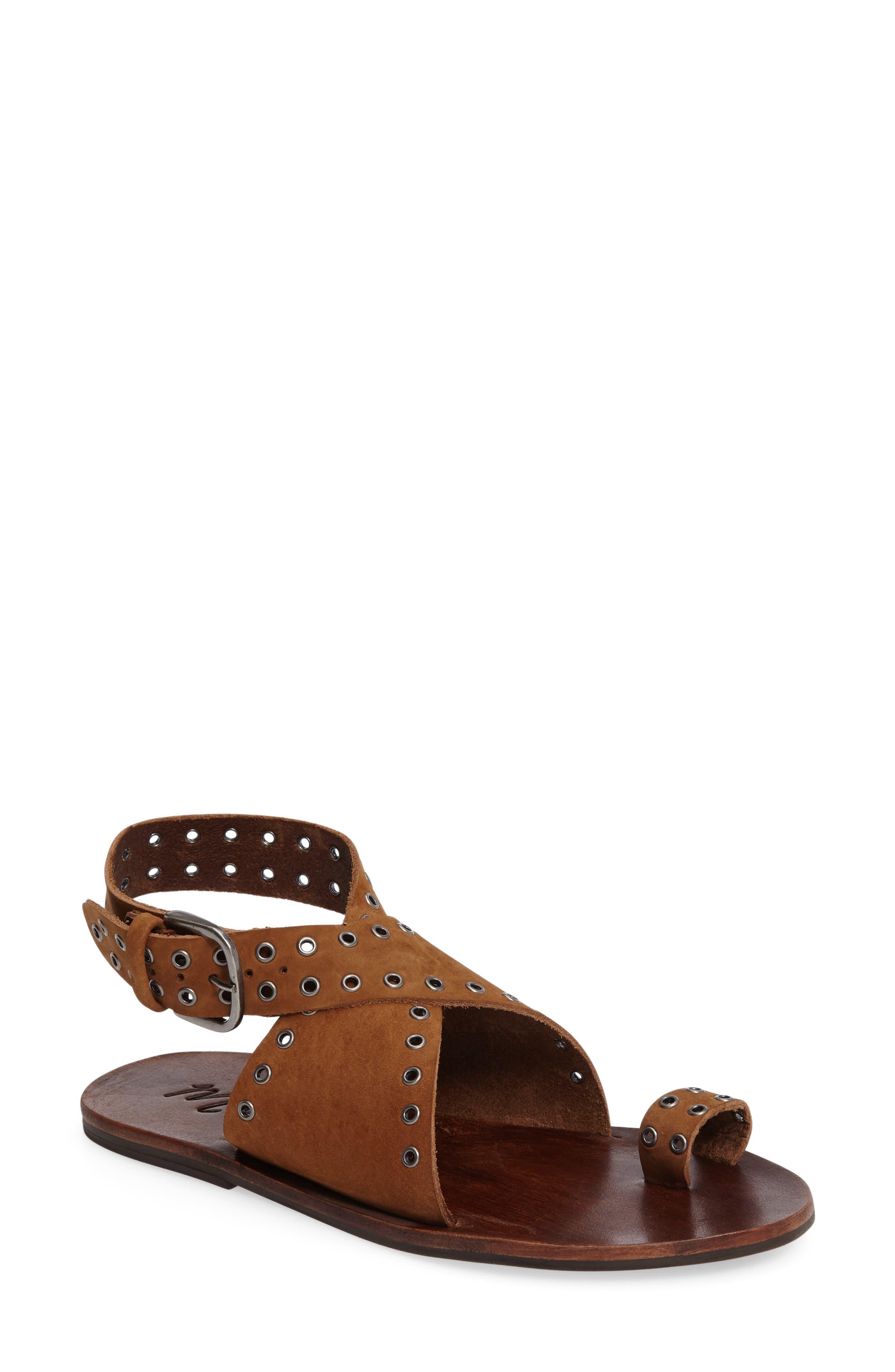 Starling Grommet Sandal,                         Main,                         color, Tan Suede