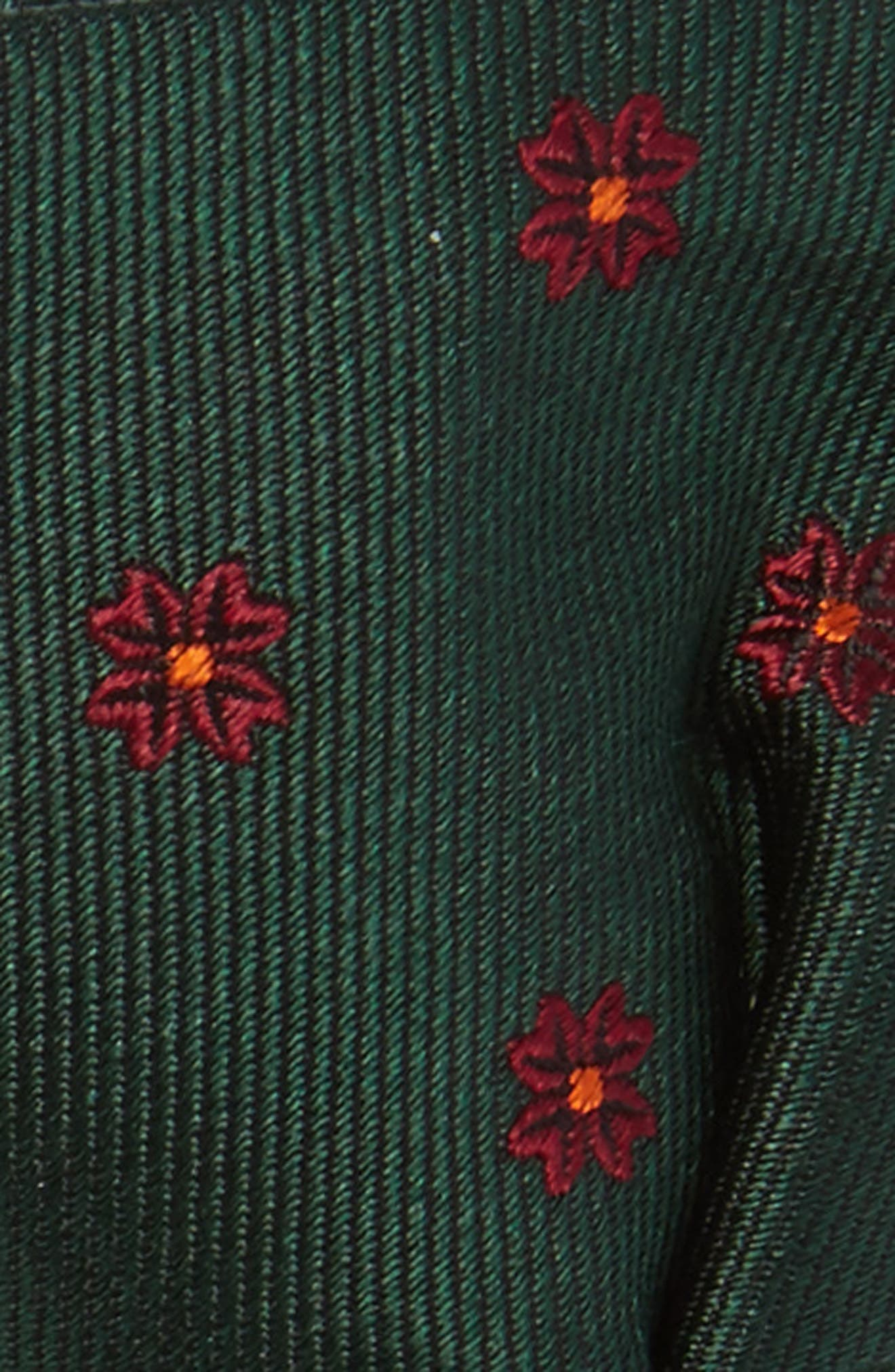 Floral Span Silk Bow Tie,                             Alternate thumbnail 3, color,                             Hunter Green