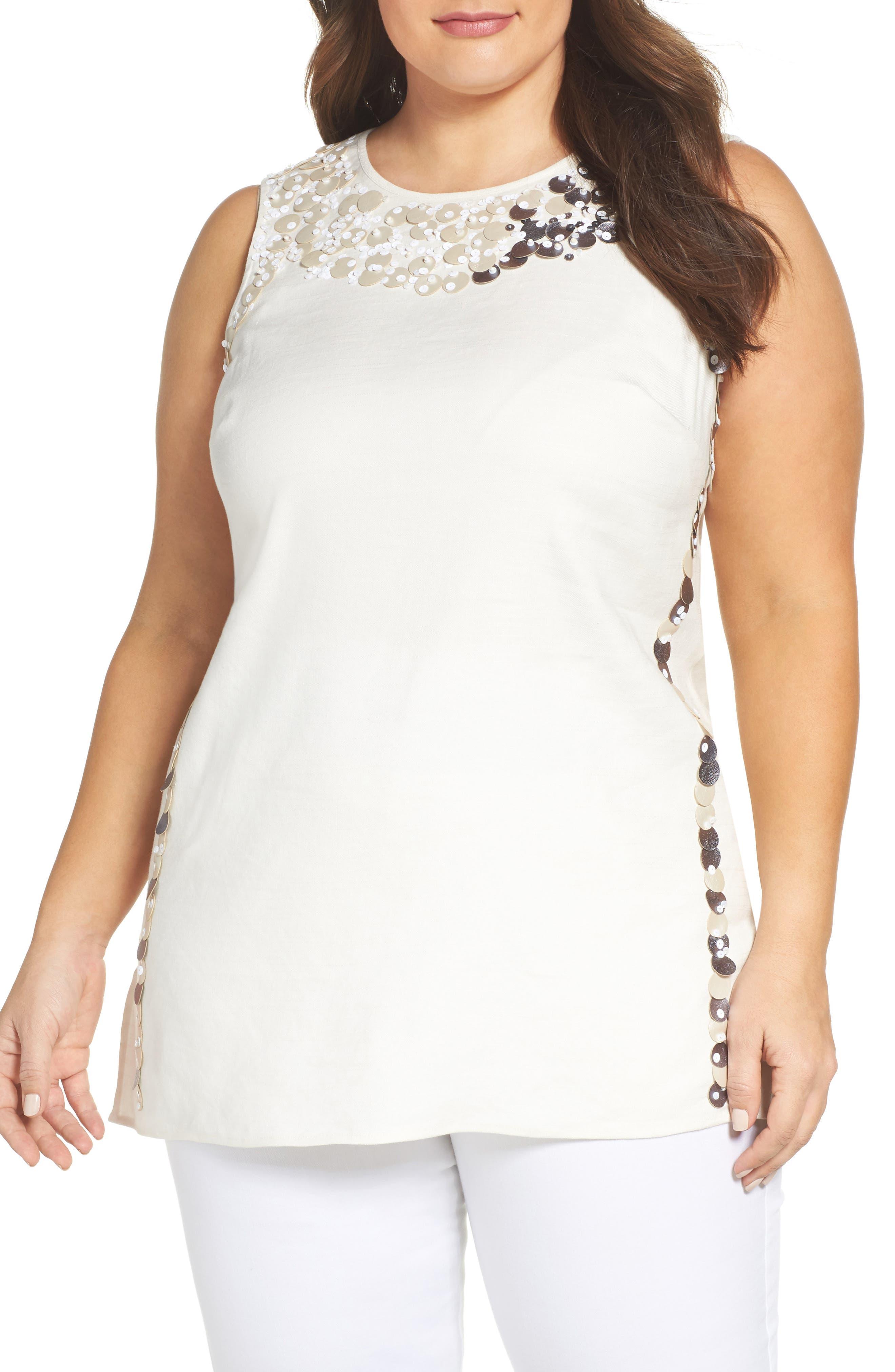 Embellished Linen Blend Top,                         Main,                         color, Bone