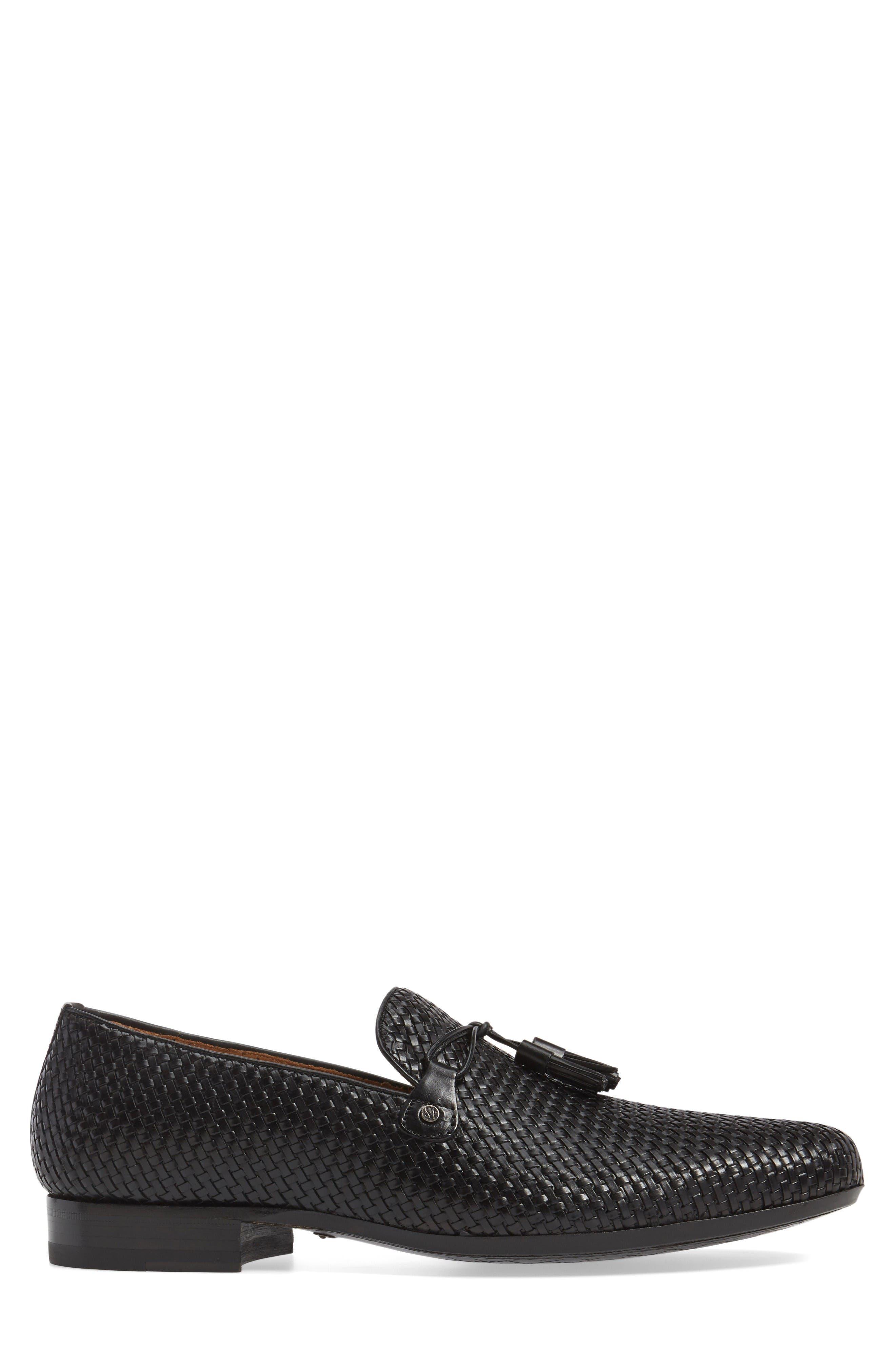 Turning Woven Tassel Loafer,                             Alternate thumbnail 3, color,                             Black Leather