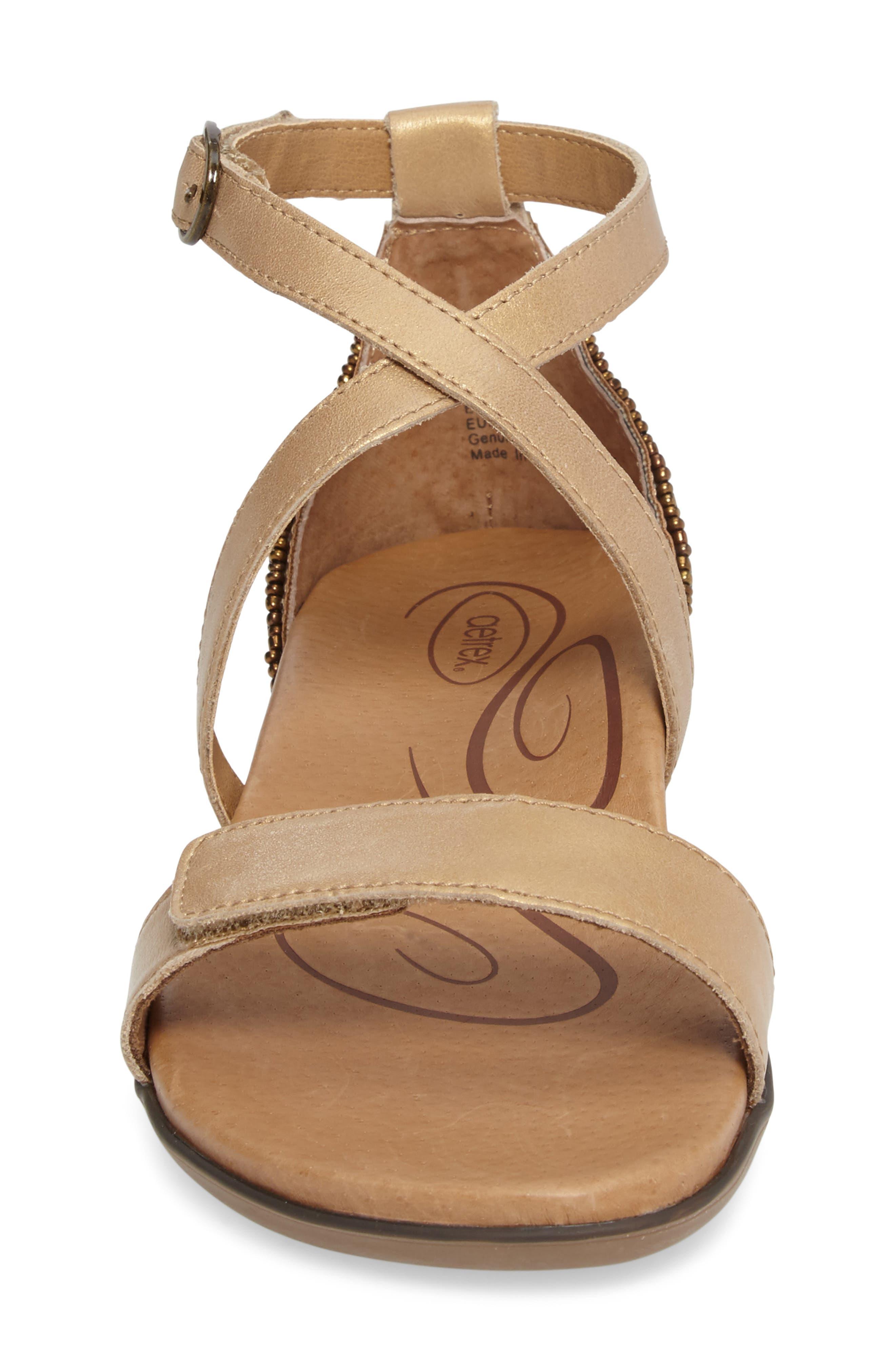 Brenda Embellished Cross Strap Sandal,                             Alternate thumbnail 4, color,                             Stone Leather