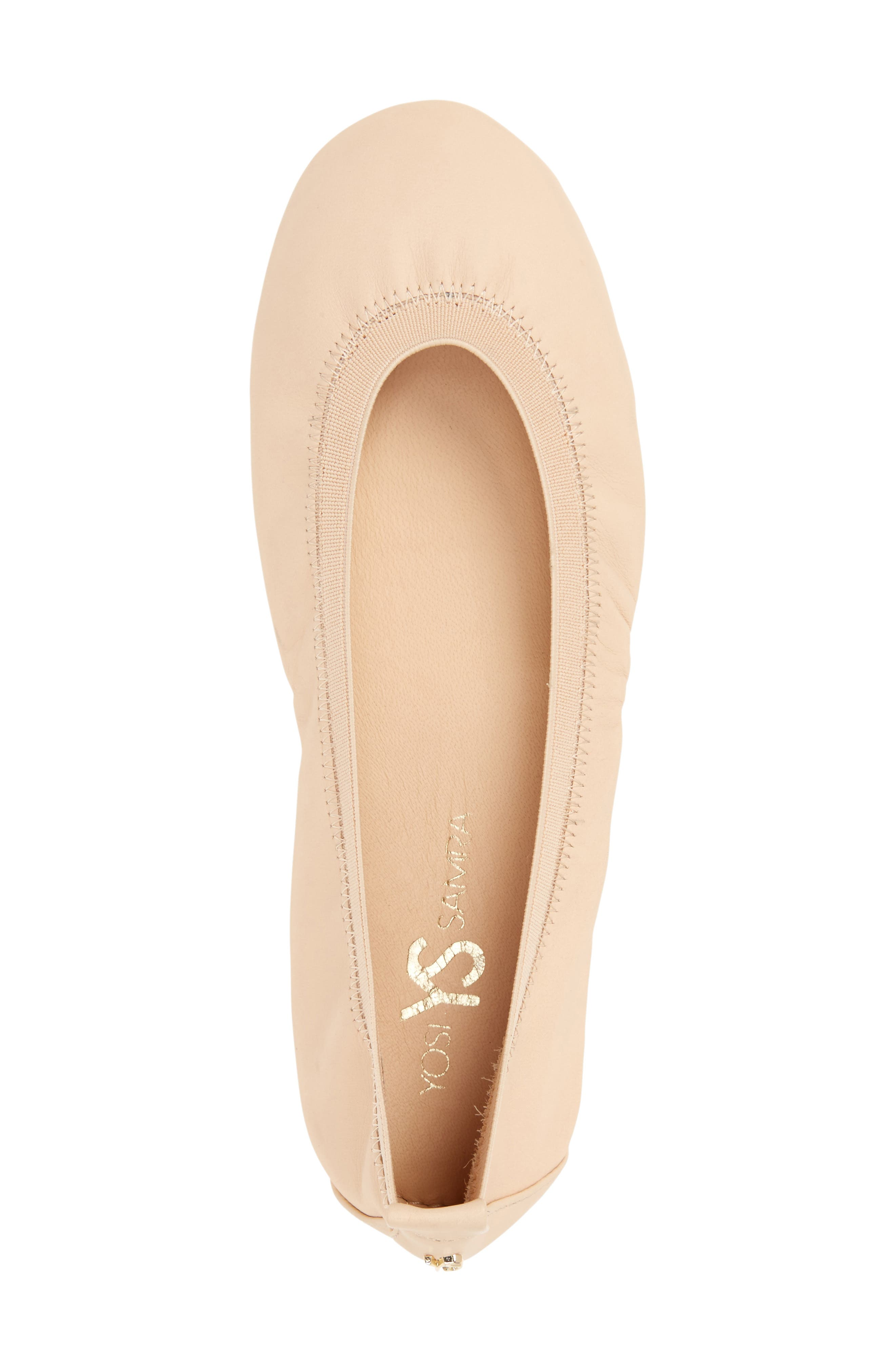 Samara Foldable Ballet Flat,                             Alternate thumbnail 5, color,                             Nude Leather