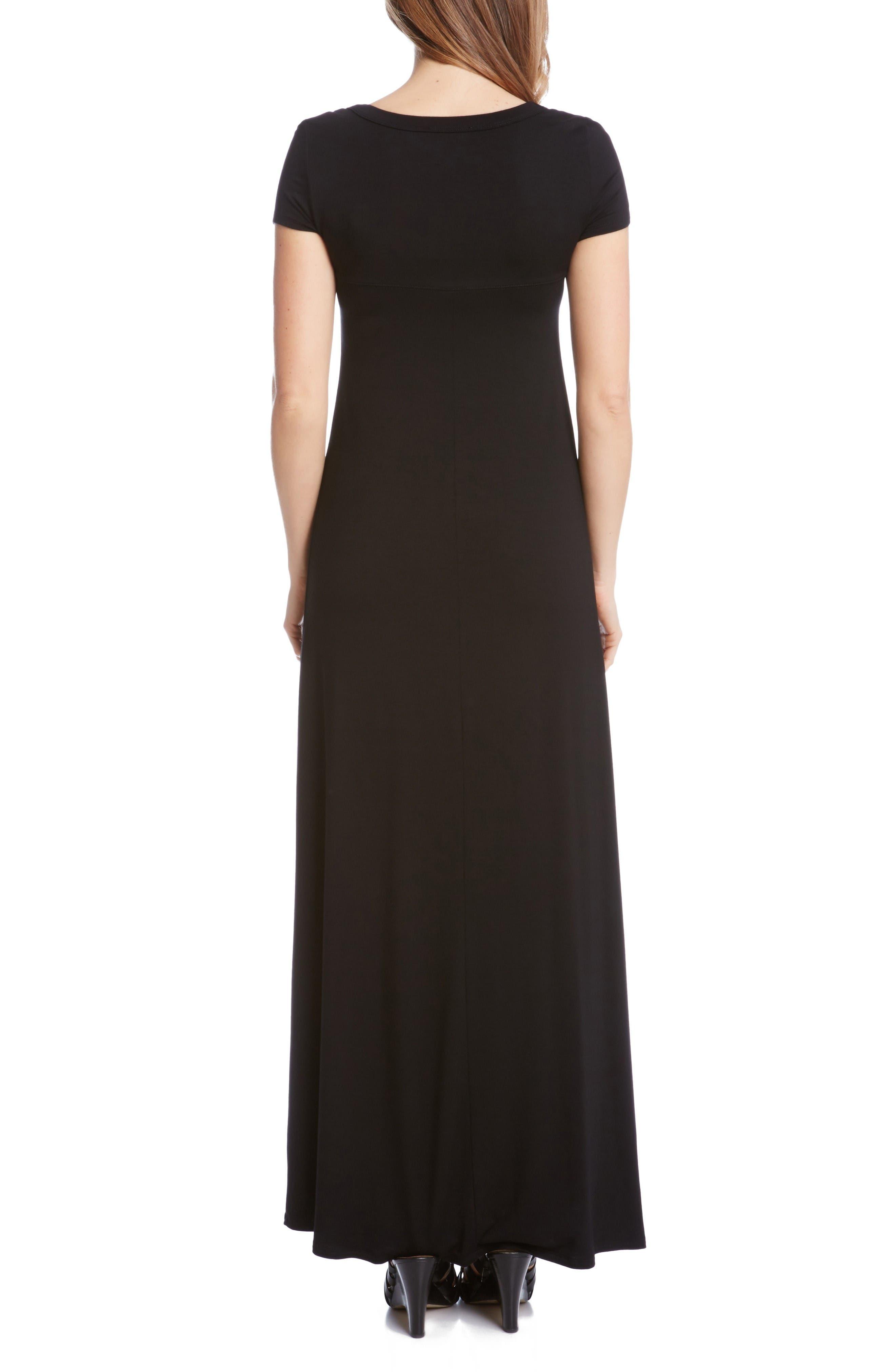 Alternate Image 2  - Karen Kane Cap Sleeve Jersey Maxi Dress (Petite)