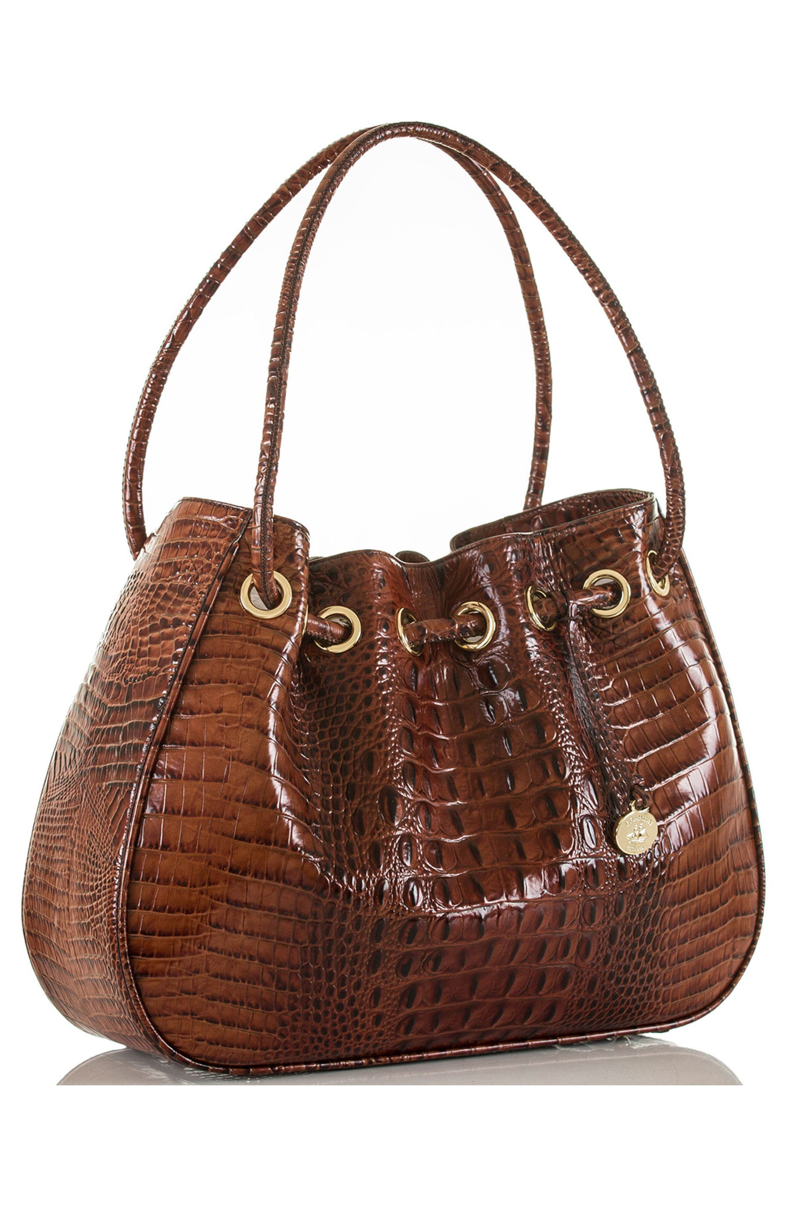 Amy Embossed Leather Drawstring Bucket Bag,                             Alternate thumbnail 4, color,                             Pecan