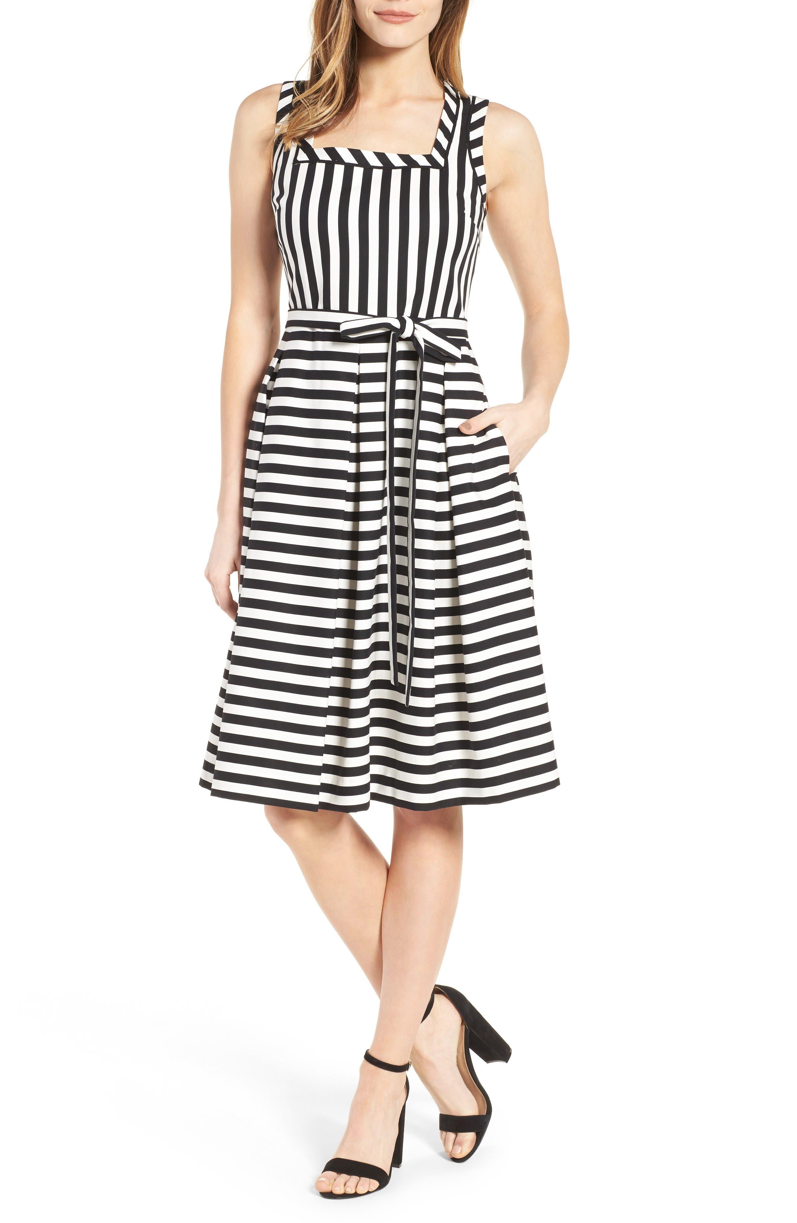 Stripe Fit & Flare Dress,                             Main thumbnail 1, color,                             Black Multi/ Black