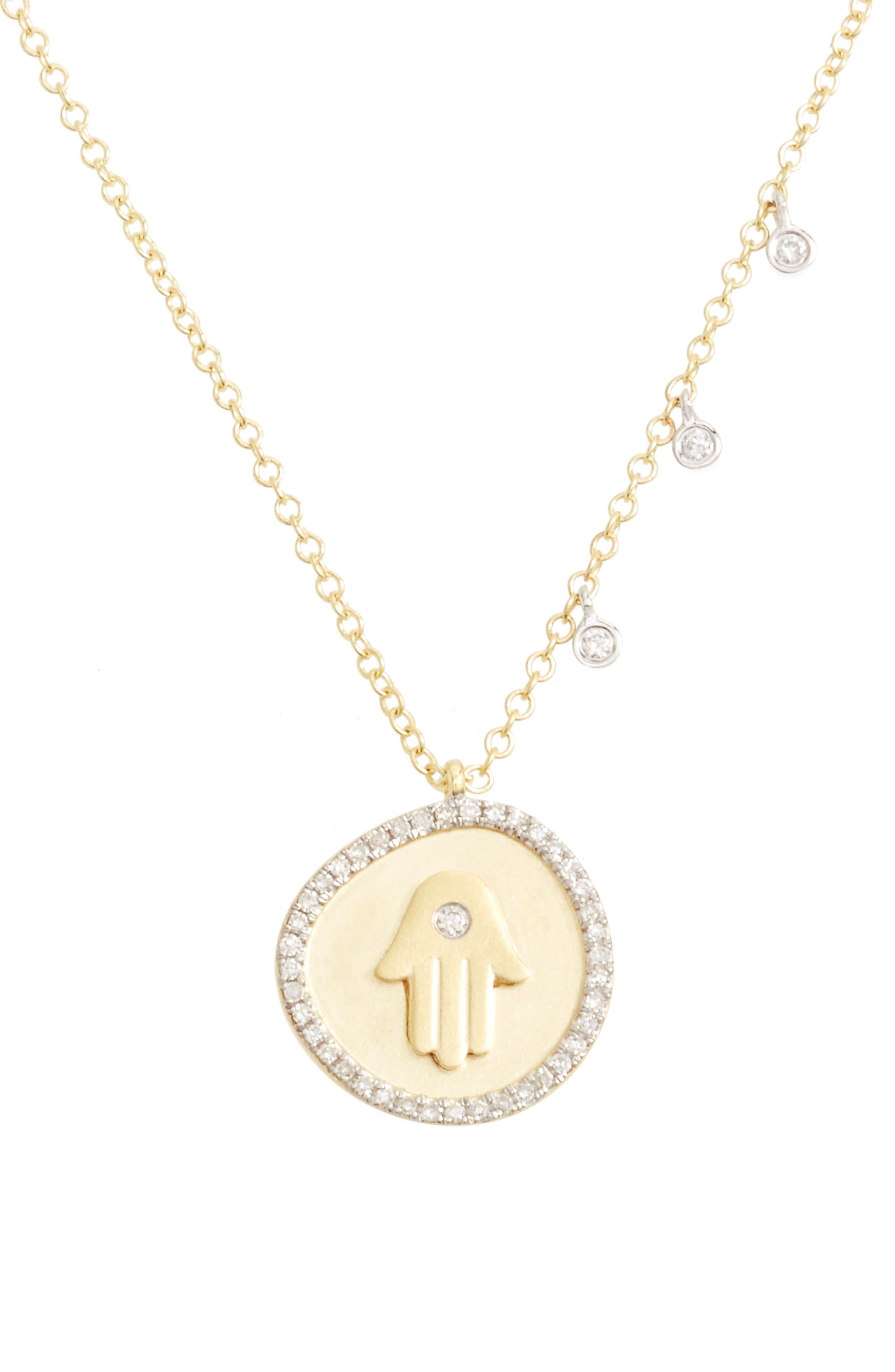 MEIRA T Diamond Hamsa Pendant Necklace