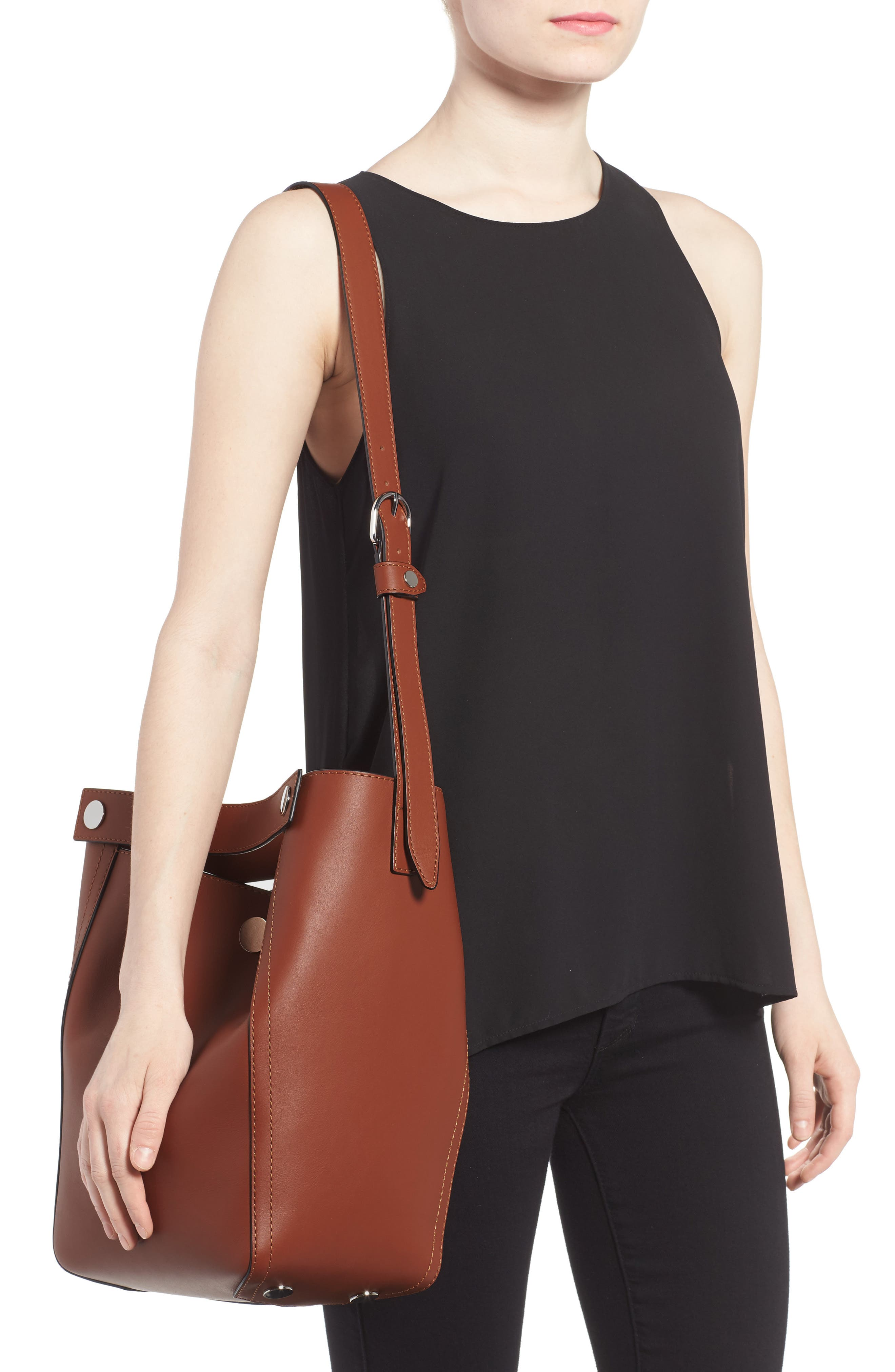 Large Dolly Leather Tote,                             Alternate thumbnail 2, color,                             Sequoia