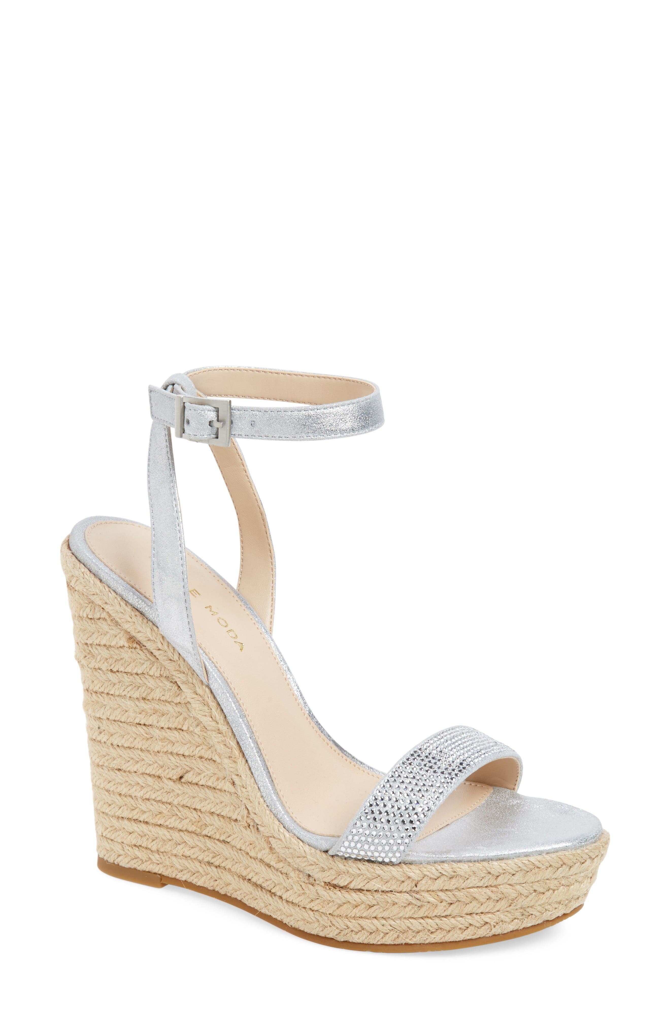 Only Embellished Platform Wedge,                             Main thumbnail 1, color,                             Silver Leather