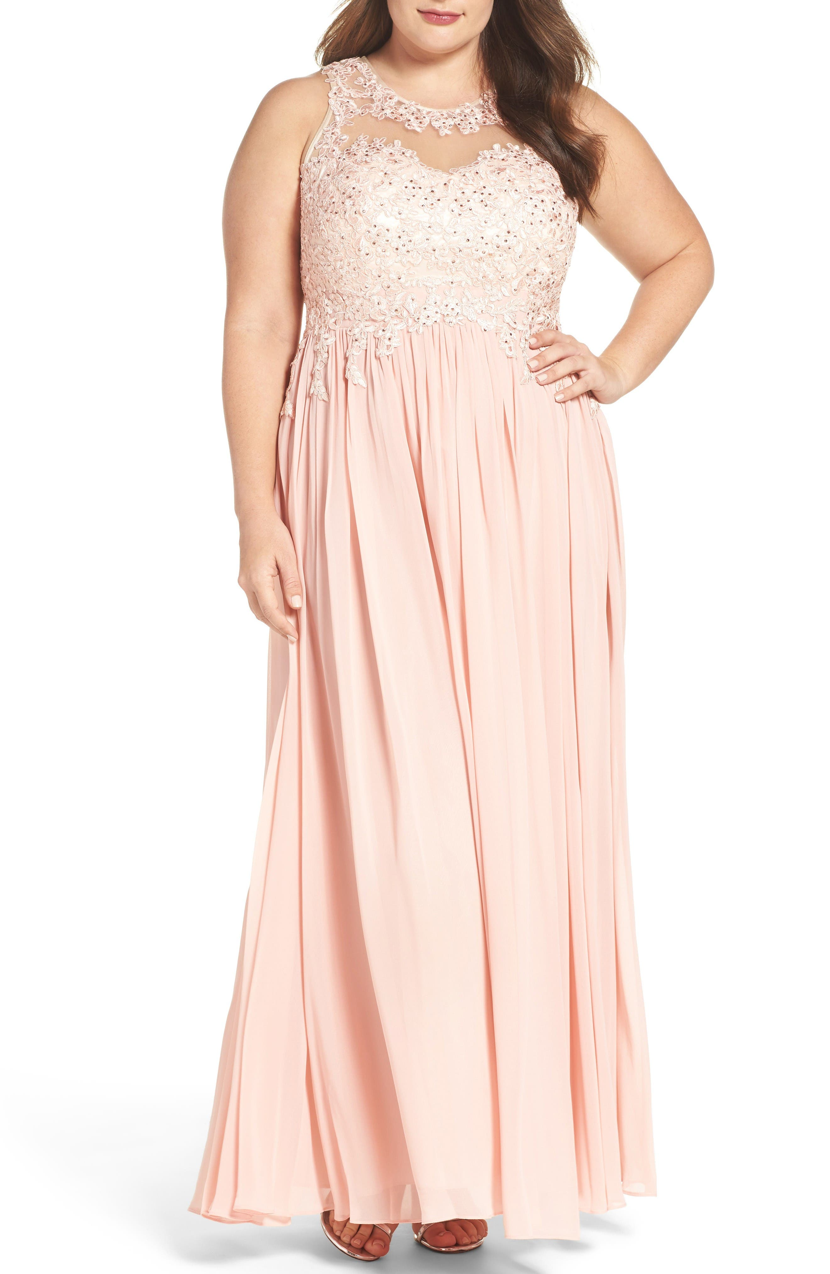 Main Image - DECODE 1.8 Embellished A-Line Chiffon Gown (Plus Size)
