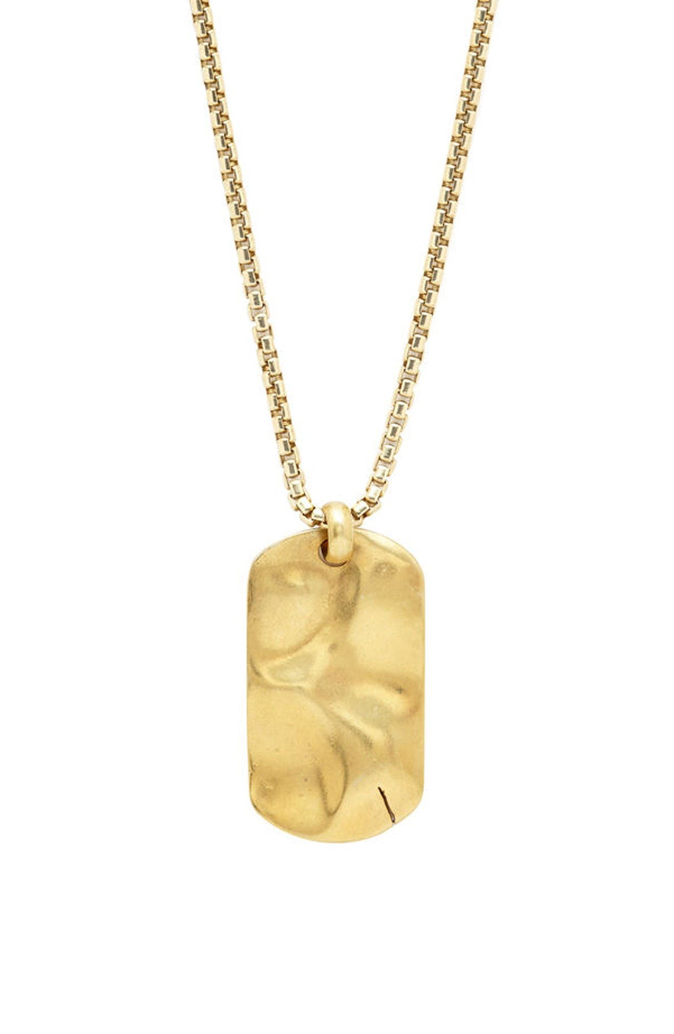 Hammered Dog Tag Necklace,                         Main,                         color, Gold
