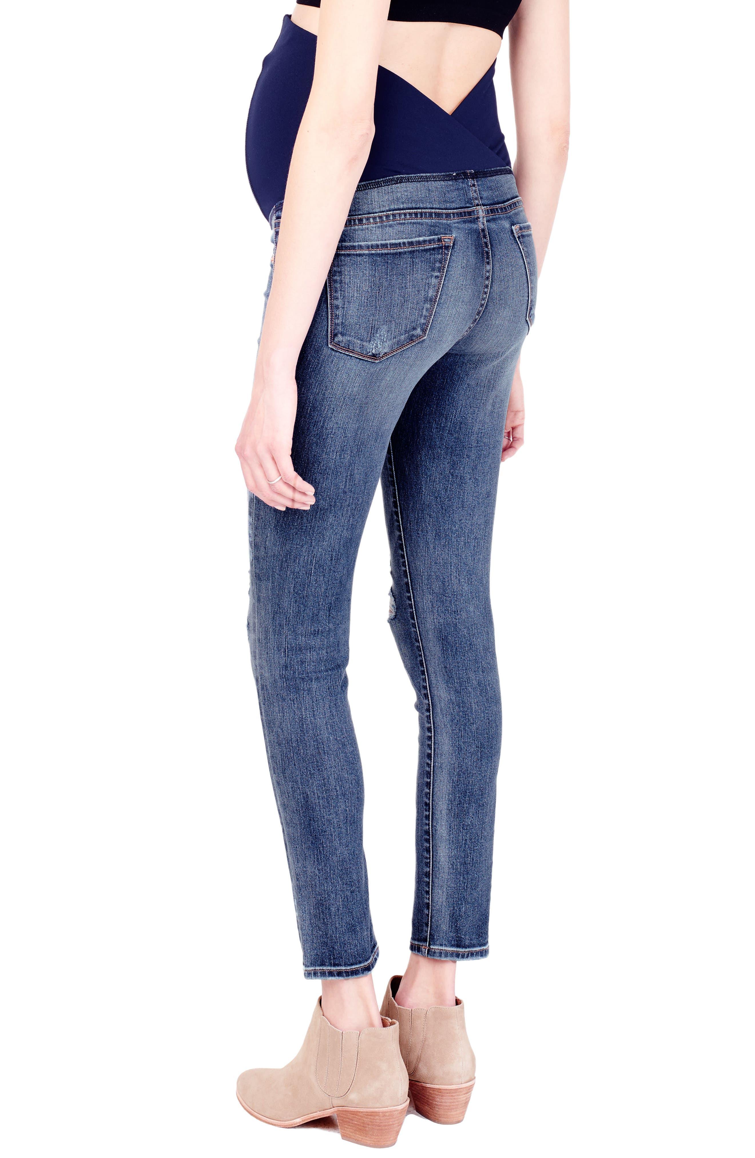 Alternate Image 4  - Ingrid & Isabel® Sasha Maternity Skinny Jeans with Crossover Panel™