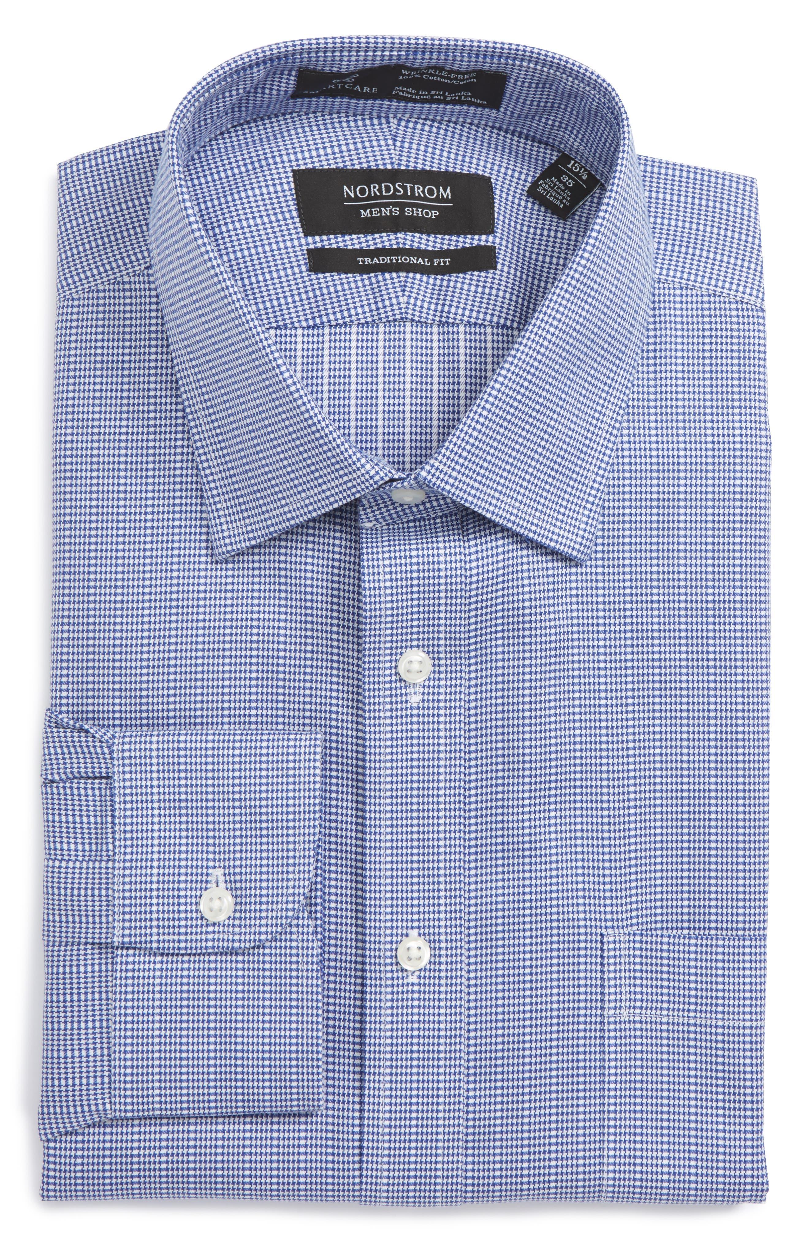 Smartcare<sup>™</sup> Traditional Fit Stripe Dress Shirt,                         Main,                         color, Blue Marine