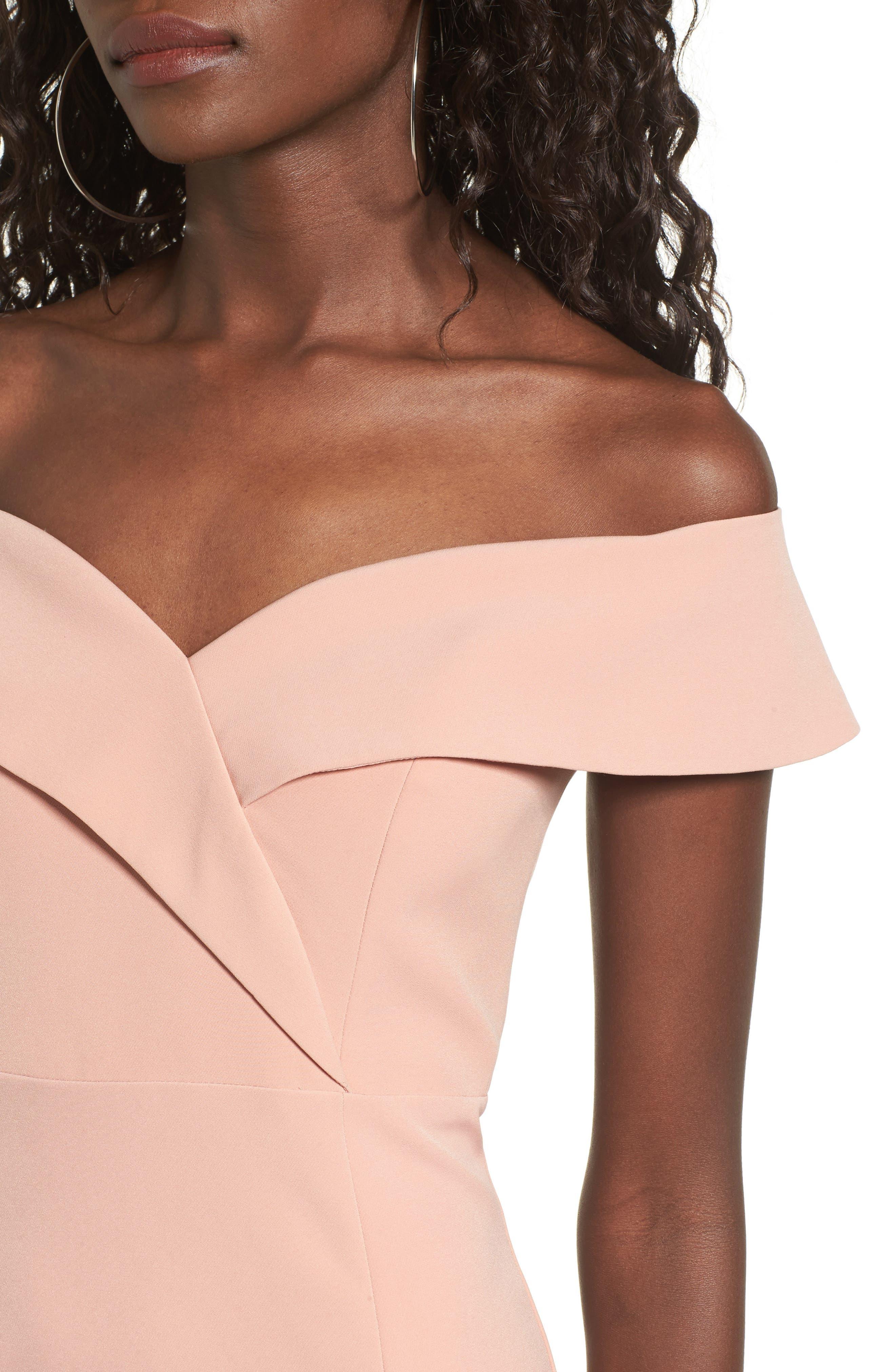 Bella Midi Dress,                             Alternate thumbnail 4, color,                             Peach
