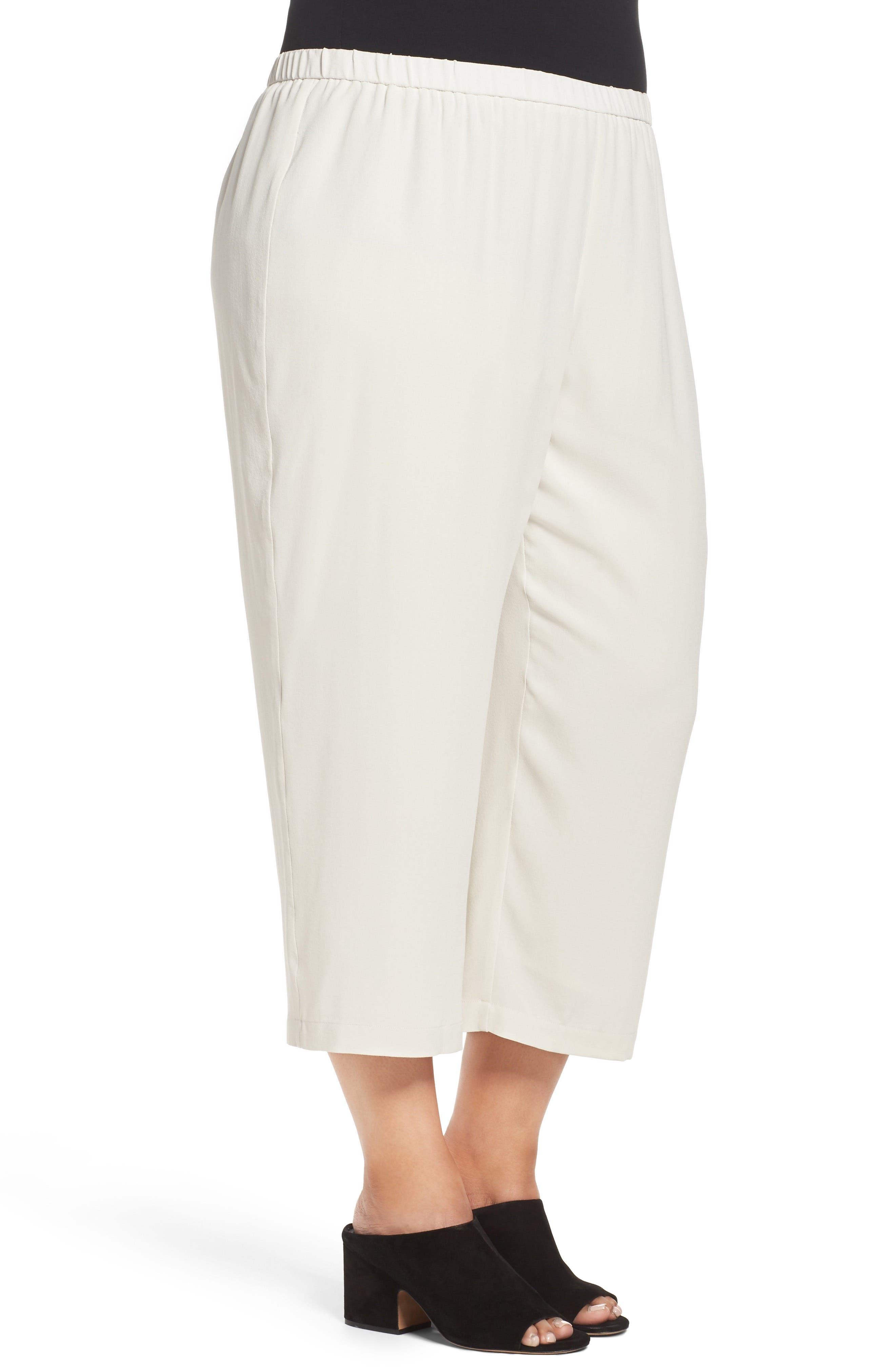 Alternate Image 3  - Eileen Fisher Silk Georgette Crop Pants (Plus Size)