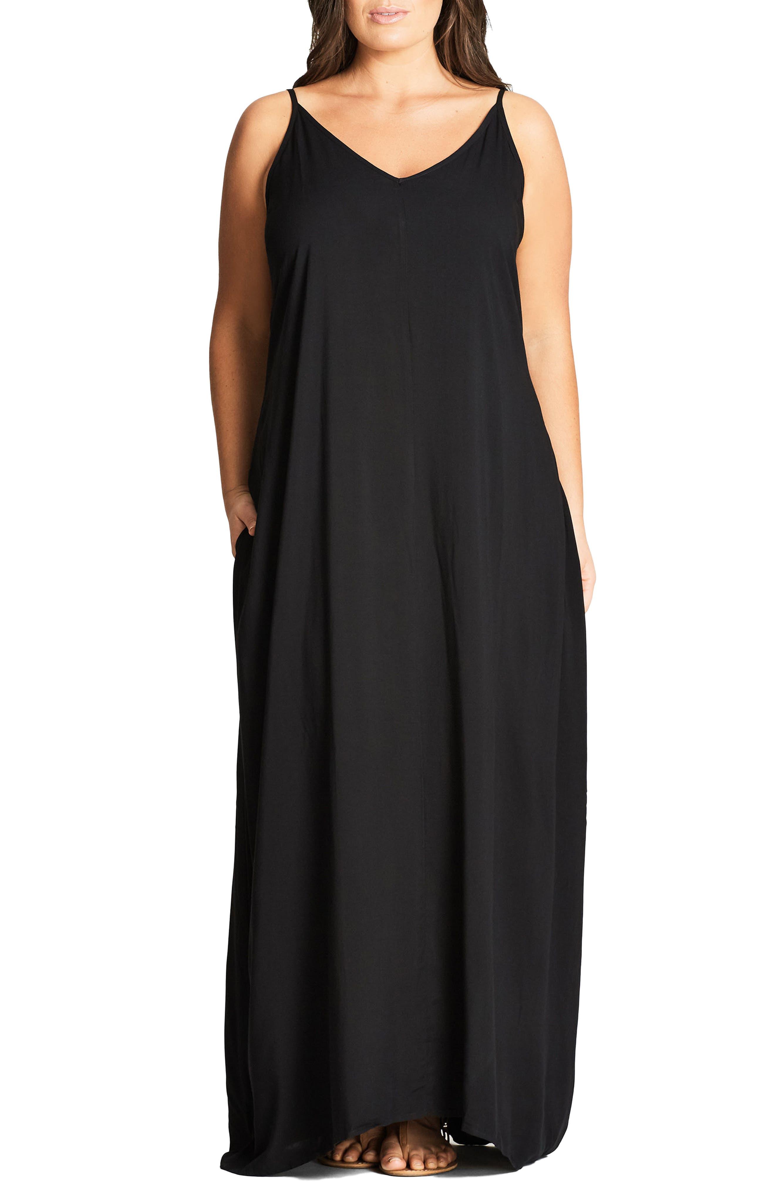 V-Neck Maxi Dress,                             Main thumbnail 1, color,                             Black