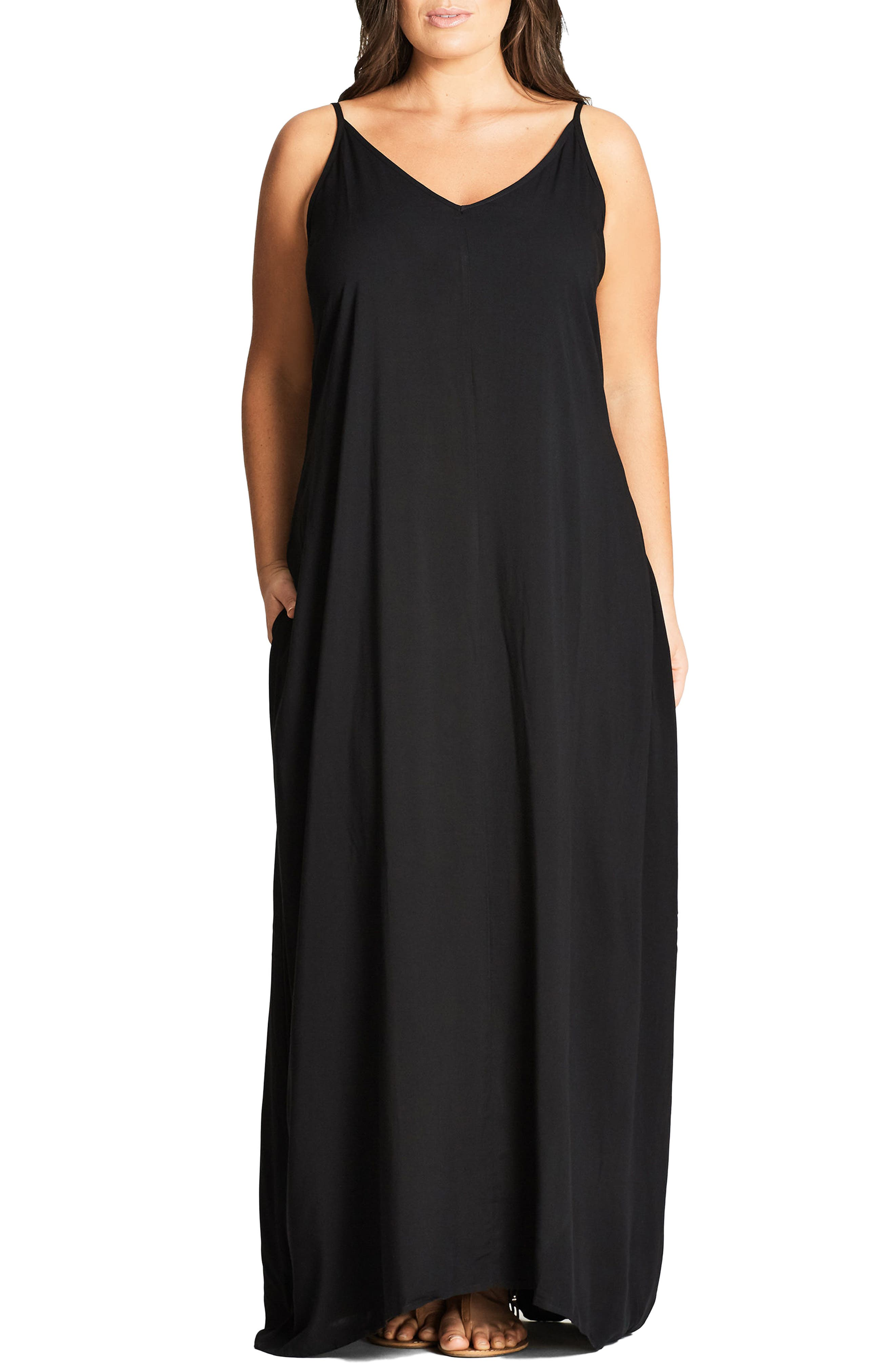 V-Neck Maxi Dress,                         Main,                         color, Black