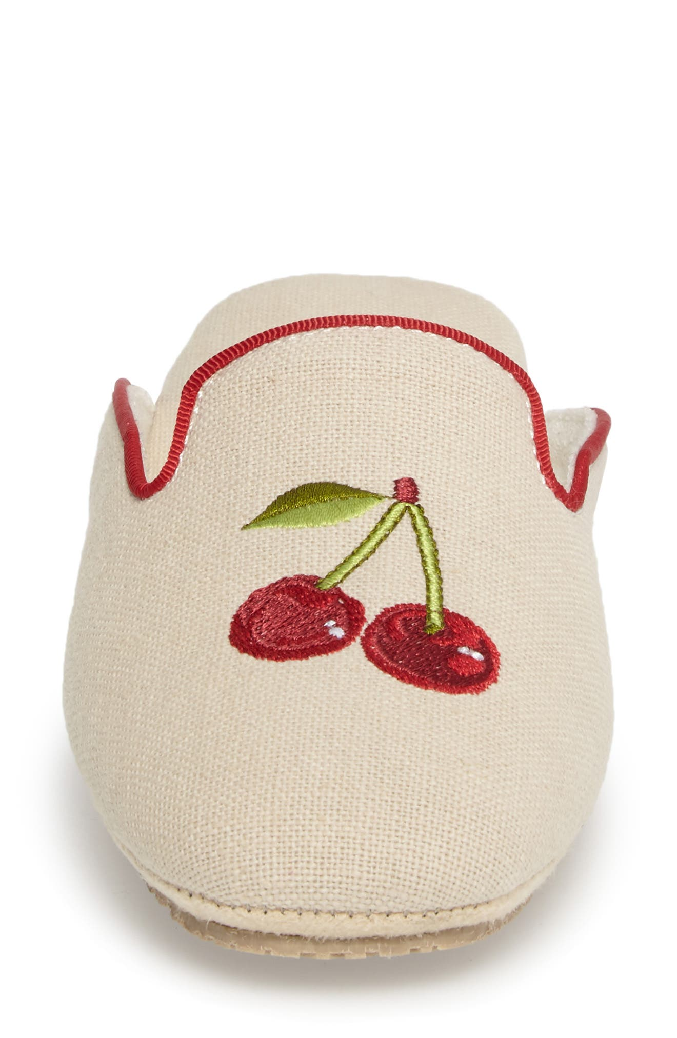 Cherries Slipper,                             Alternate thumbnail 4, color,                             Natural Fabric