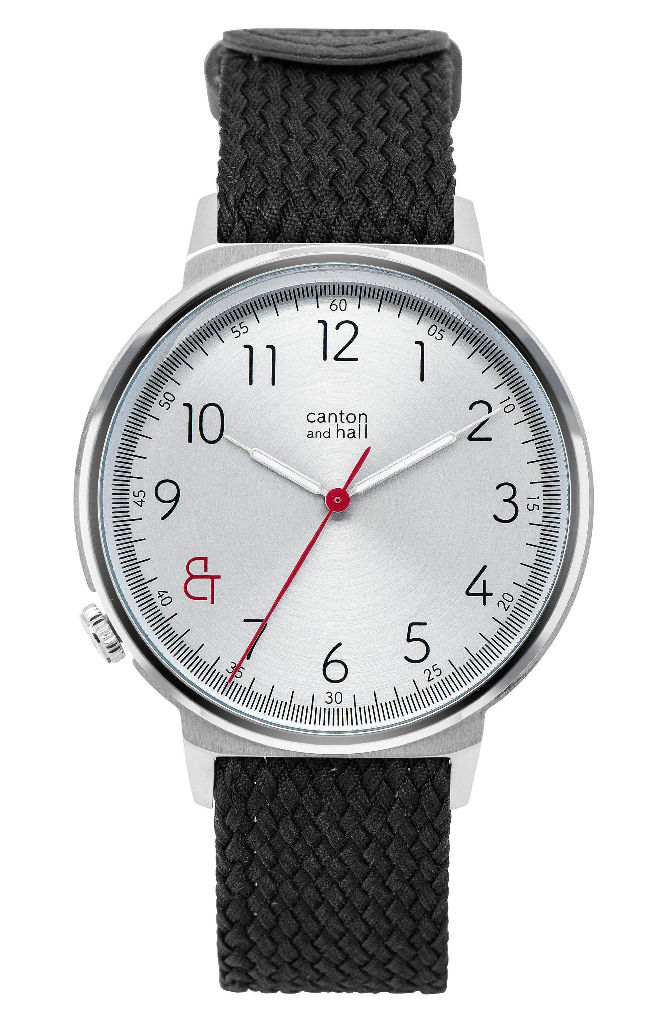 Alternate Image 1 Selected - Canton and Hall Woven Perlon Strap Watch
