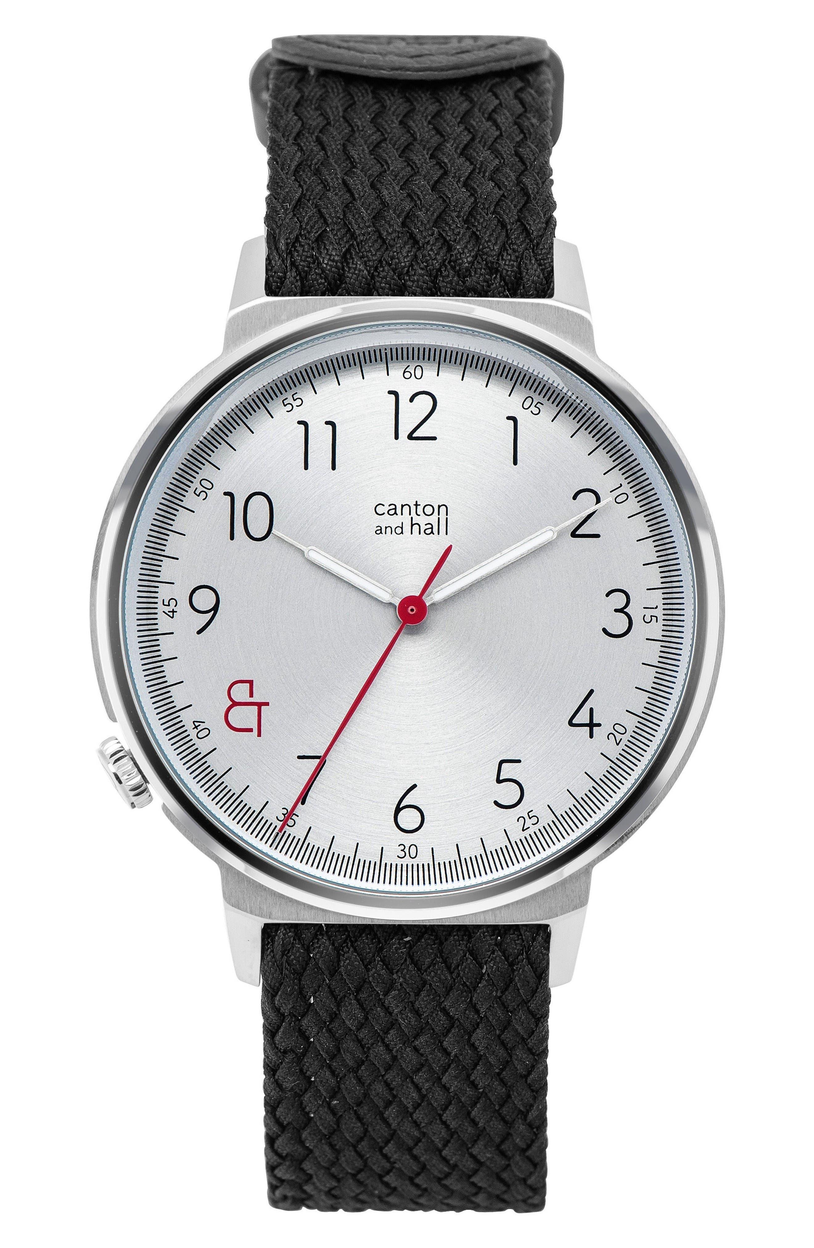 Woven Perlon Strap Watch,                         Main,                         color, Cream/ Black