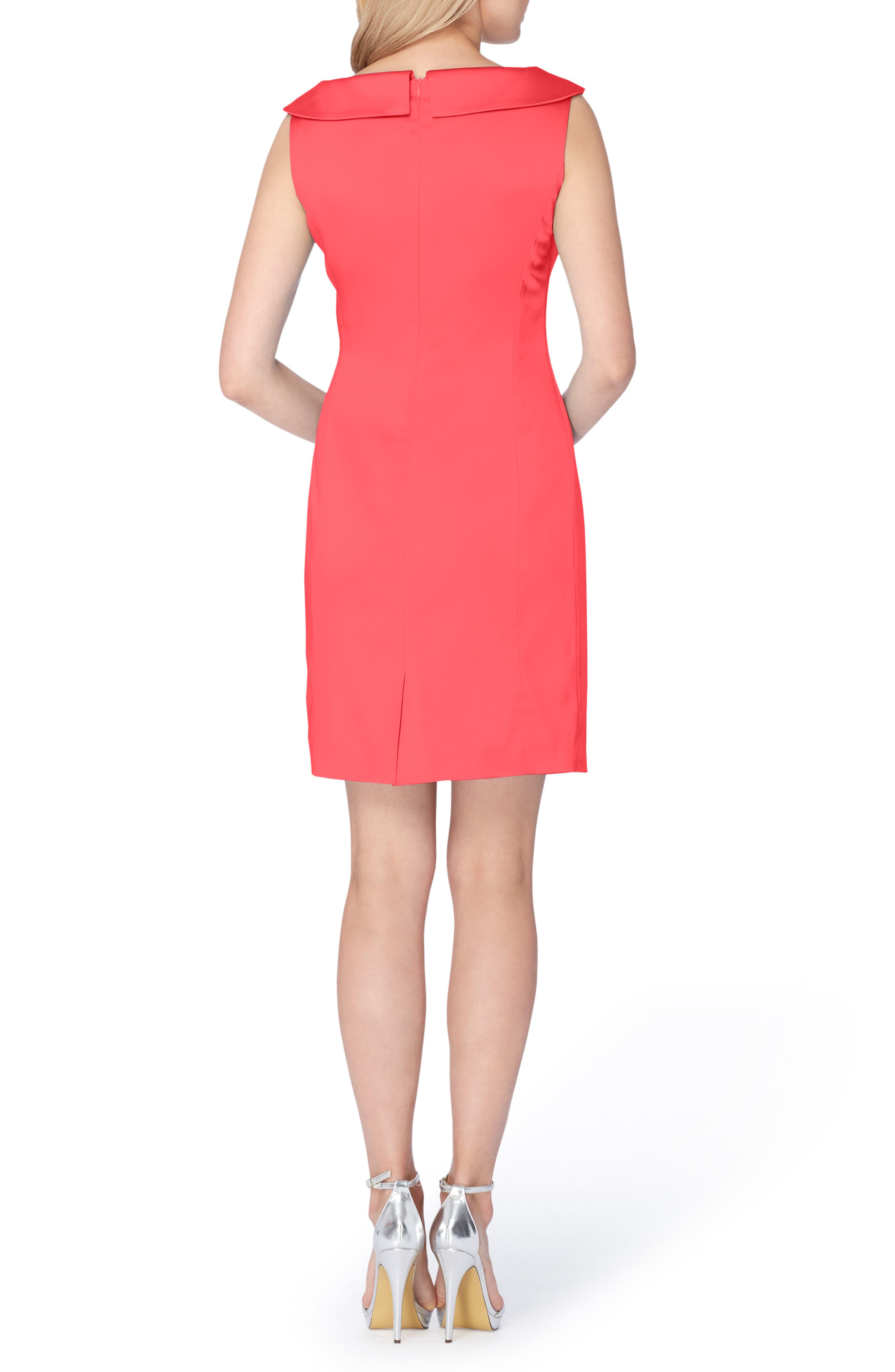 Satin Sheath Dress,                             Alternate thumbnail 2, color,                             Geranium