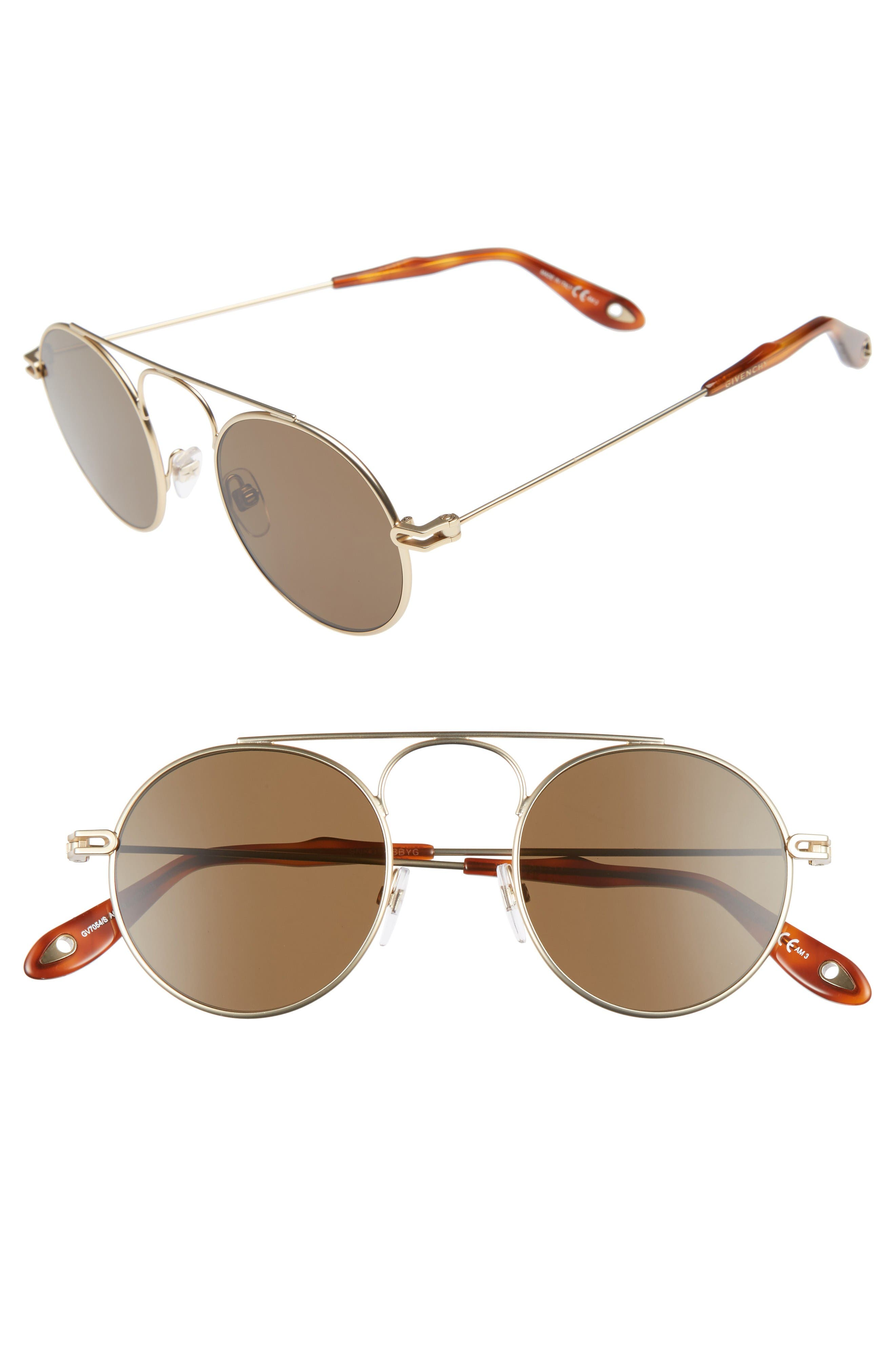 48mm Round Sunglasses,                             Main thumbnail 1, color,                             Gold