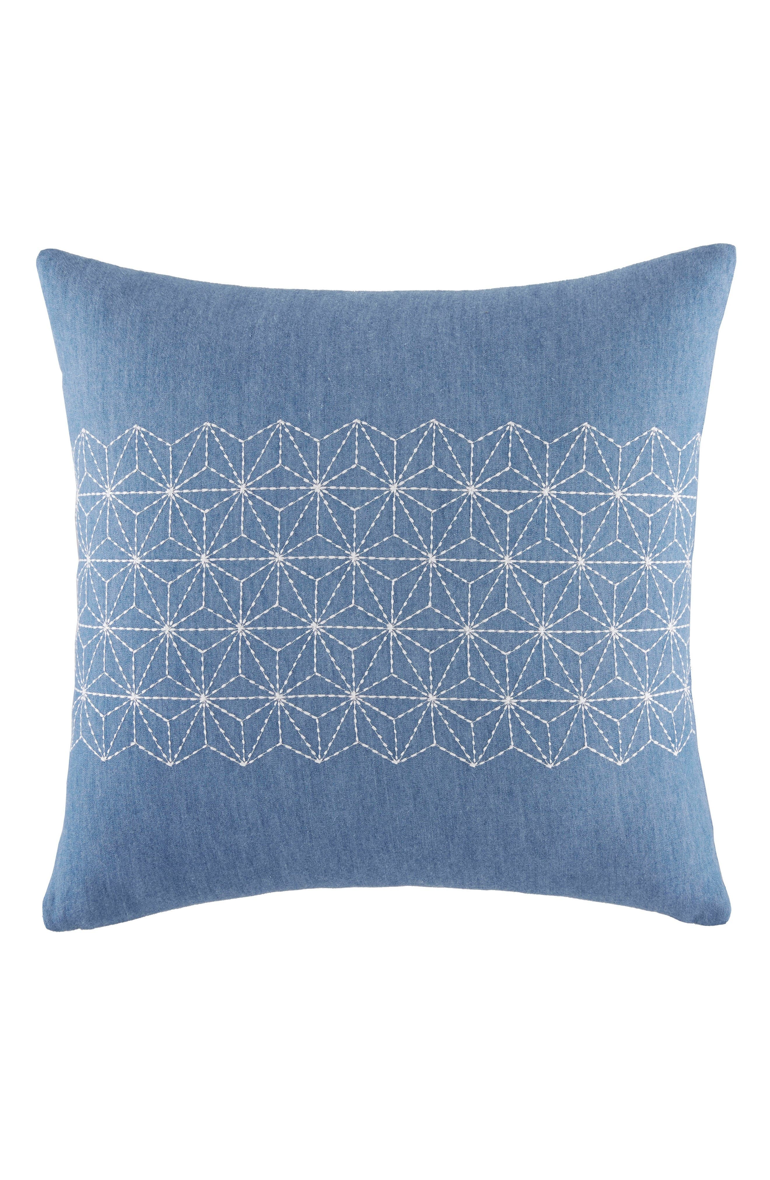 Geo Stitched Accent Pillow,                         Main,                         color, Blue