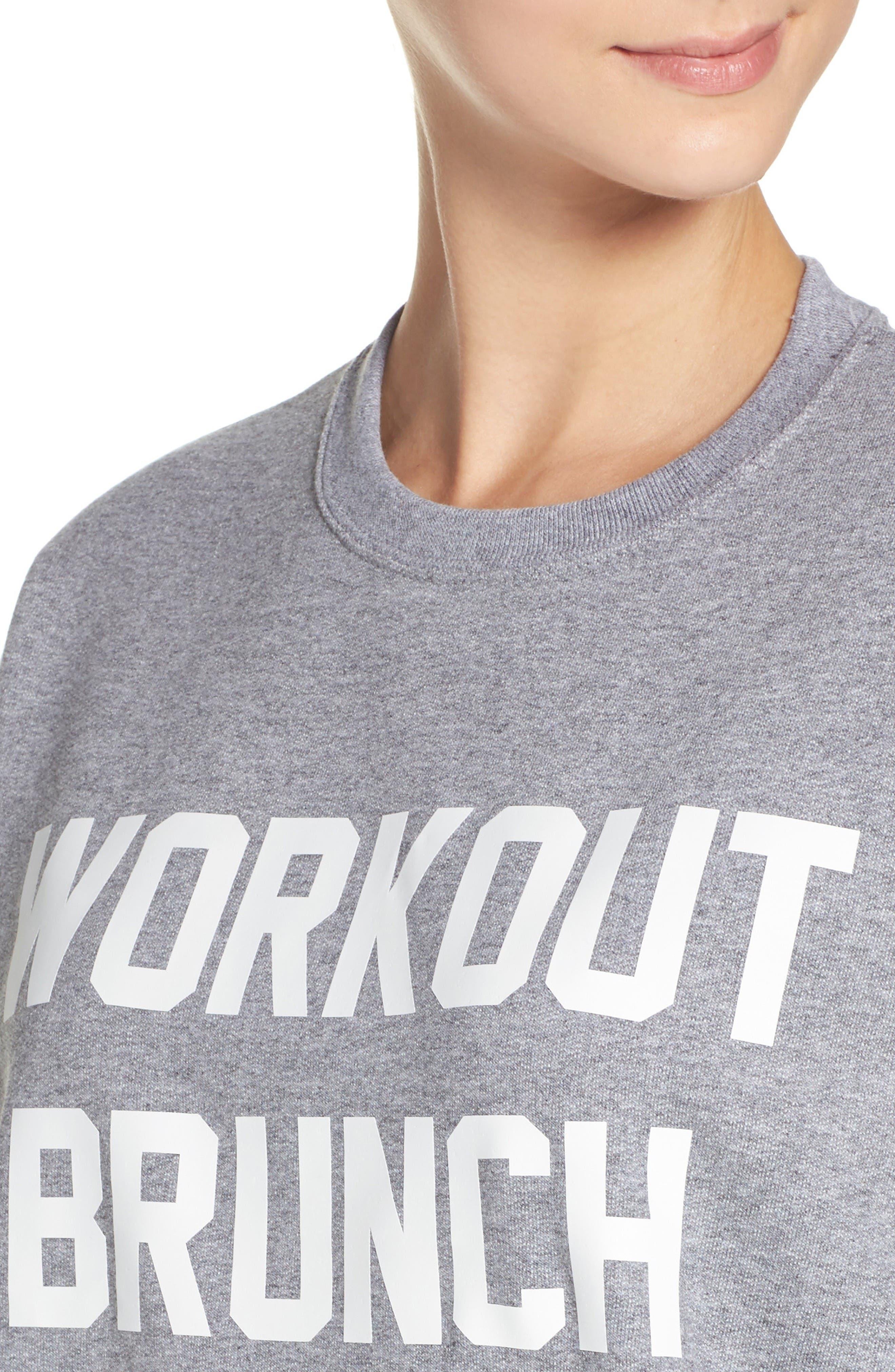 Workout Brunch Repeat Sweatshirt,                             Alternate thumbnail 4, color,                             Grey