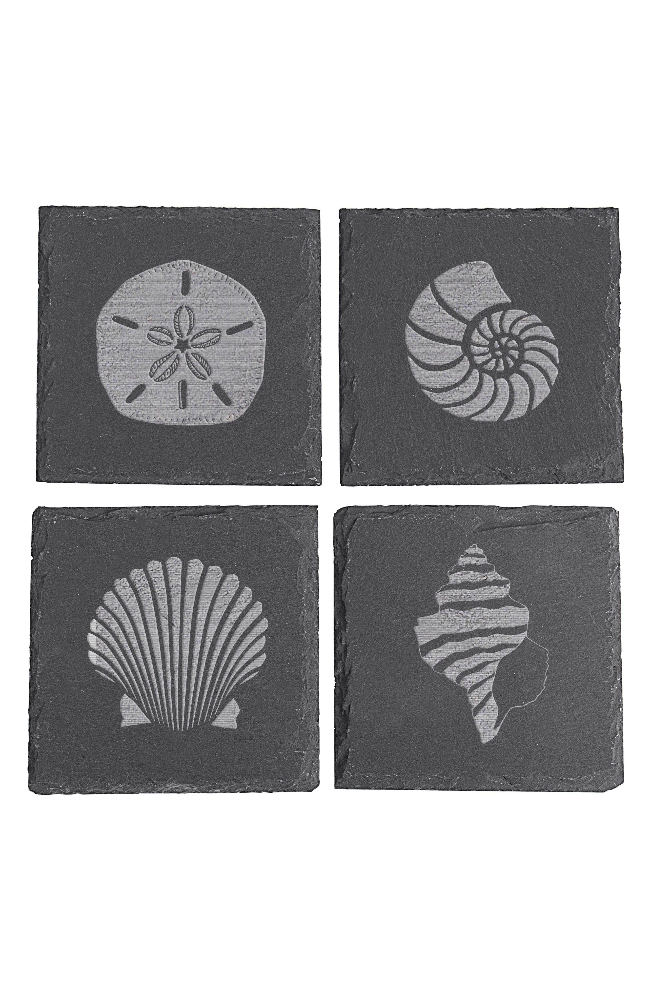 Set of 4 Slate Coasters,                         Main,                         color, Sea Shell