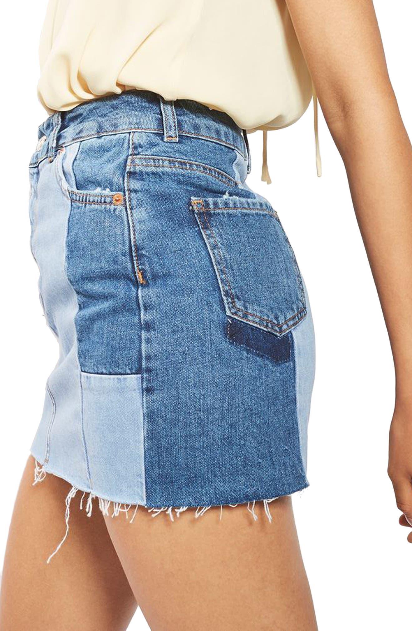Alternate Image 5  - Topshop Colorblock Denim Miniskirt