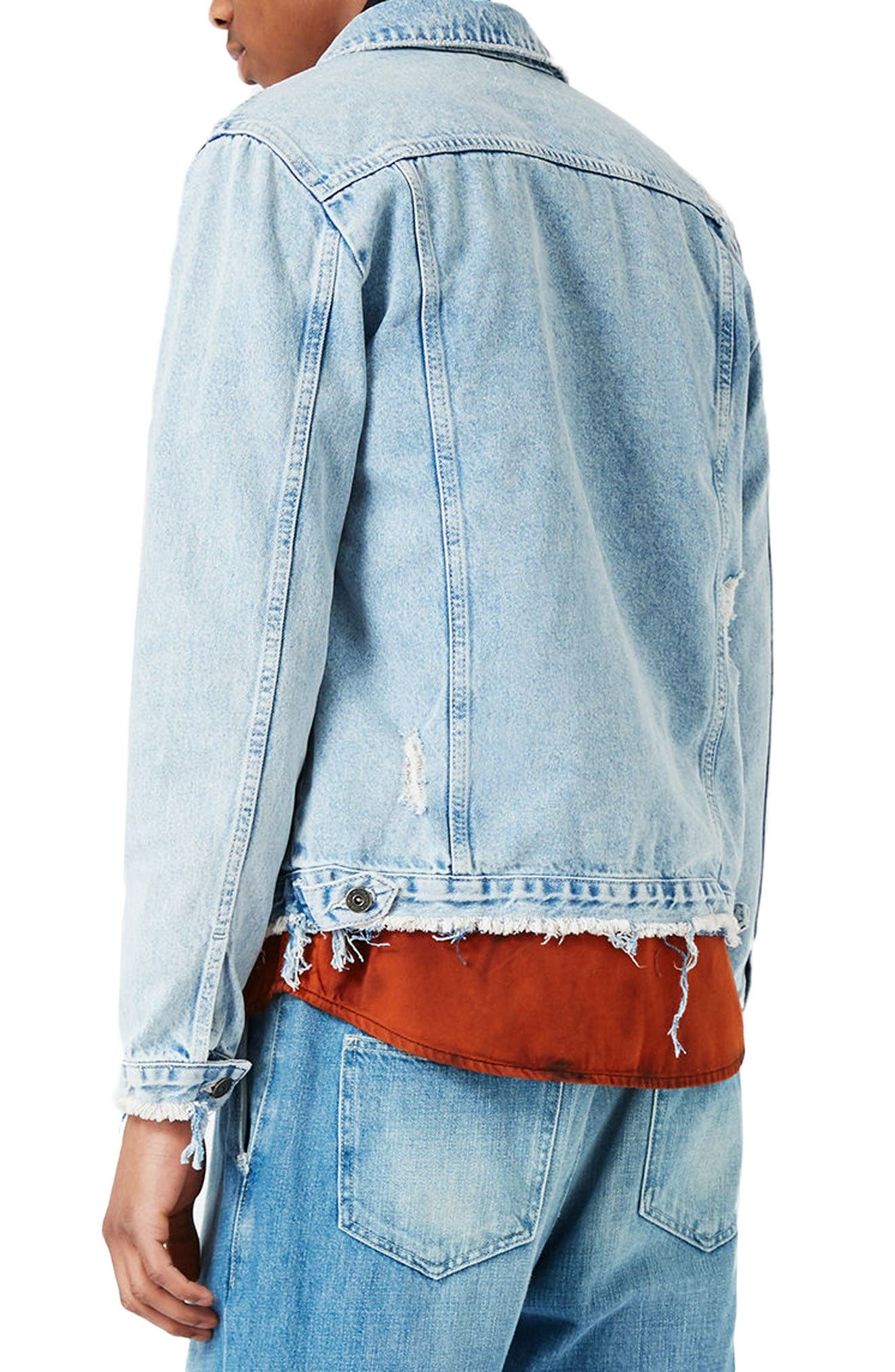 Distressed Denim Jacket,                             Alternate thumbnail 3, color,                             Blue