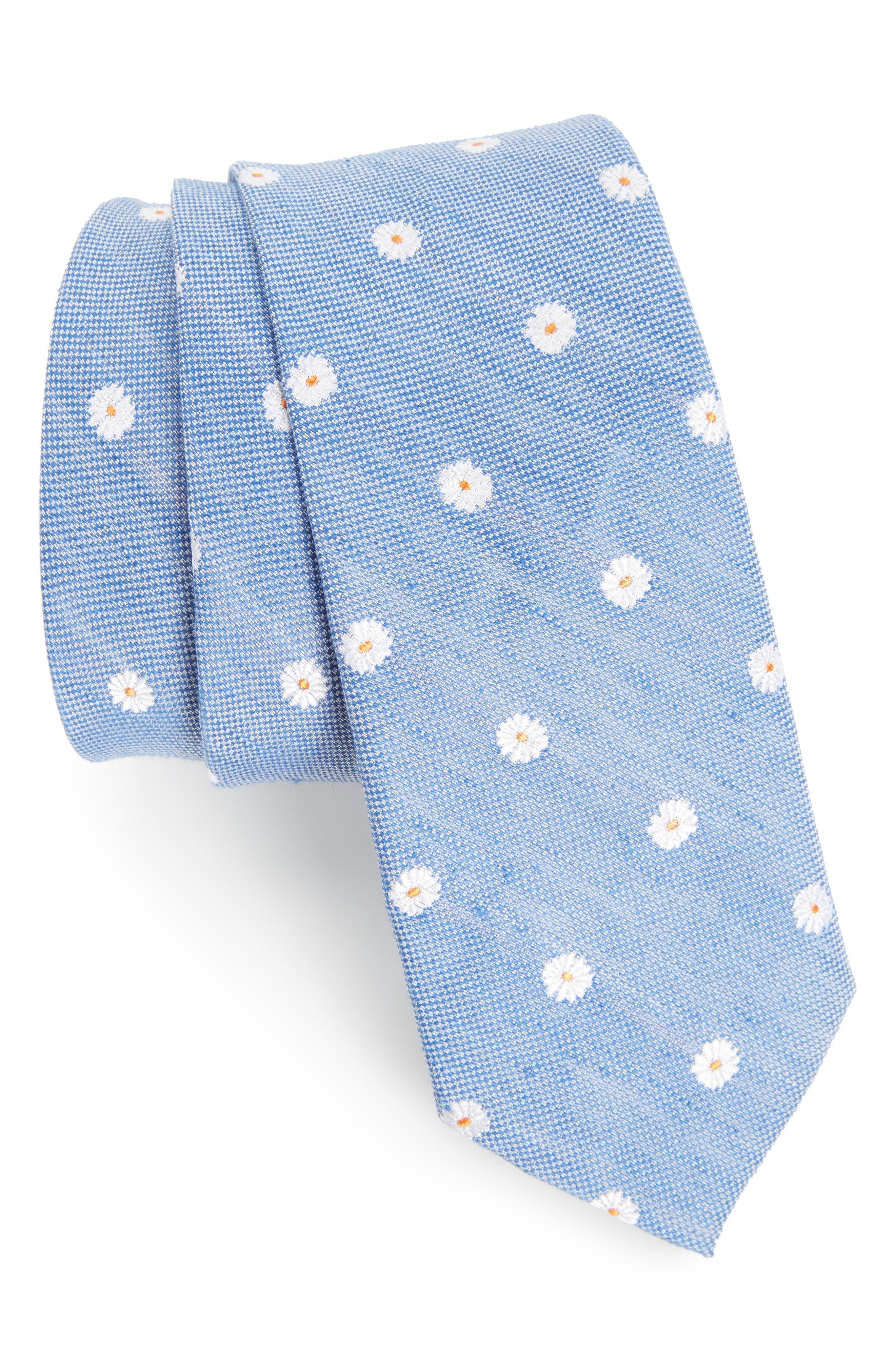 Hogard Floral Linen & Silk Skinny Tie,                             Main thumbnail 1, color,                             Blue