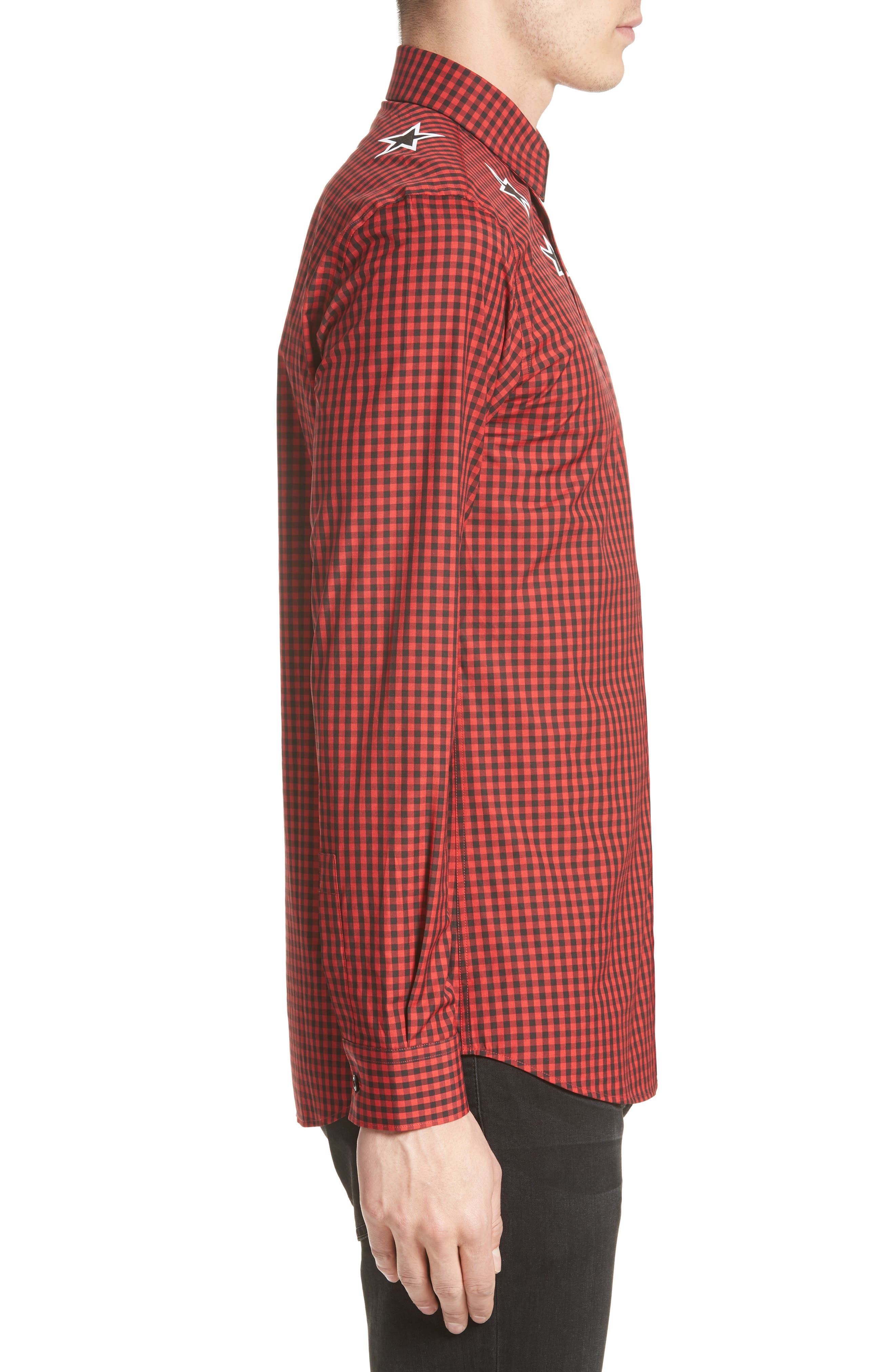 Extra Trim Fit Star Gingham Sport Shirt,                             Alternate thumbnail 3, color,                             Red