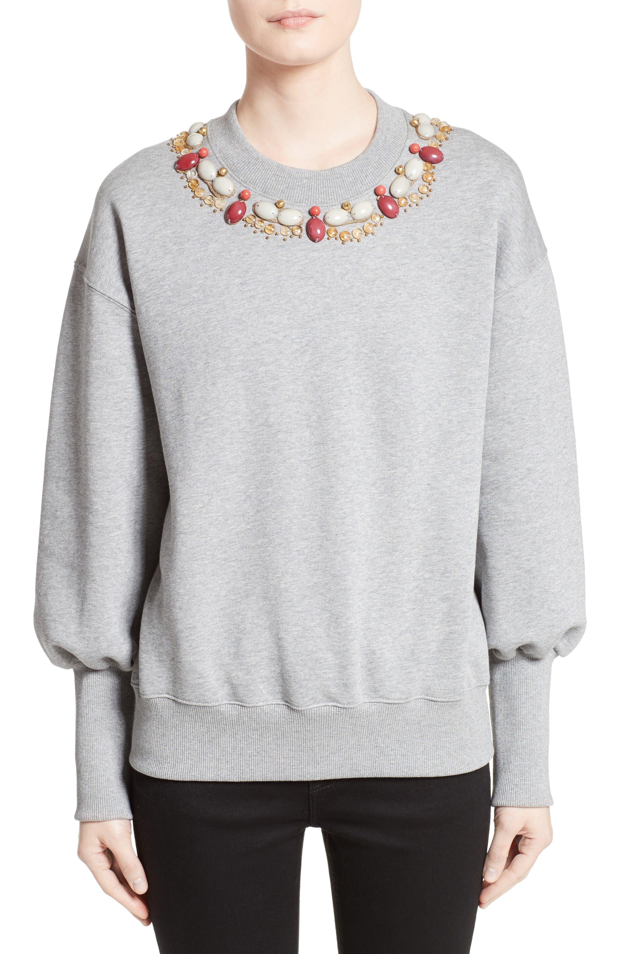 Juliano Embellished Sweatshirt,                         Main,                         color, Pale Grey Melange