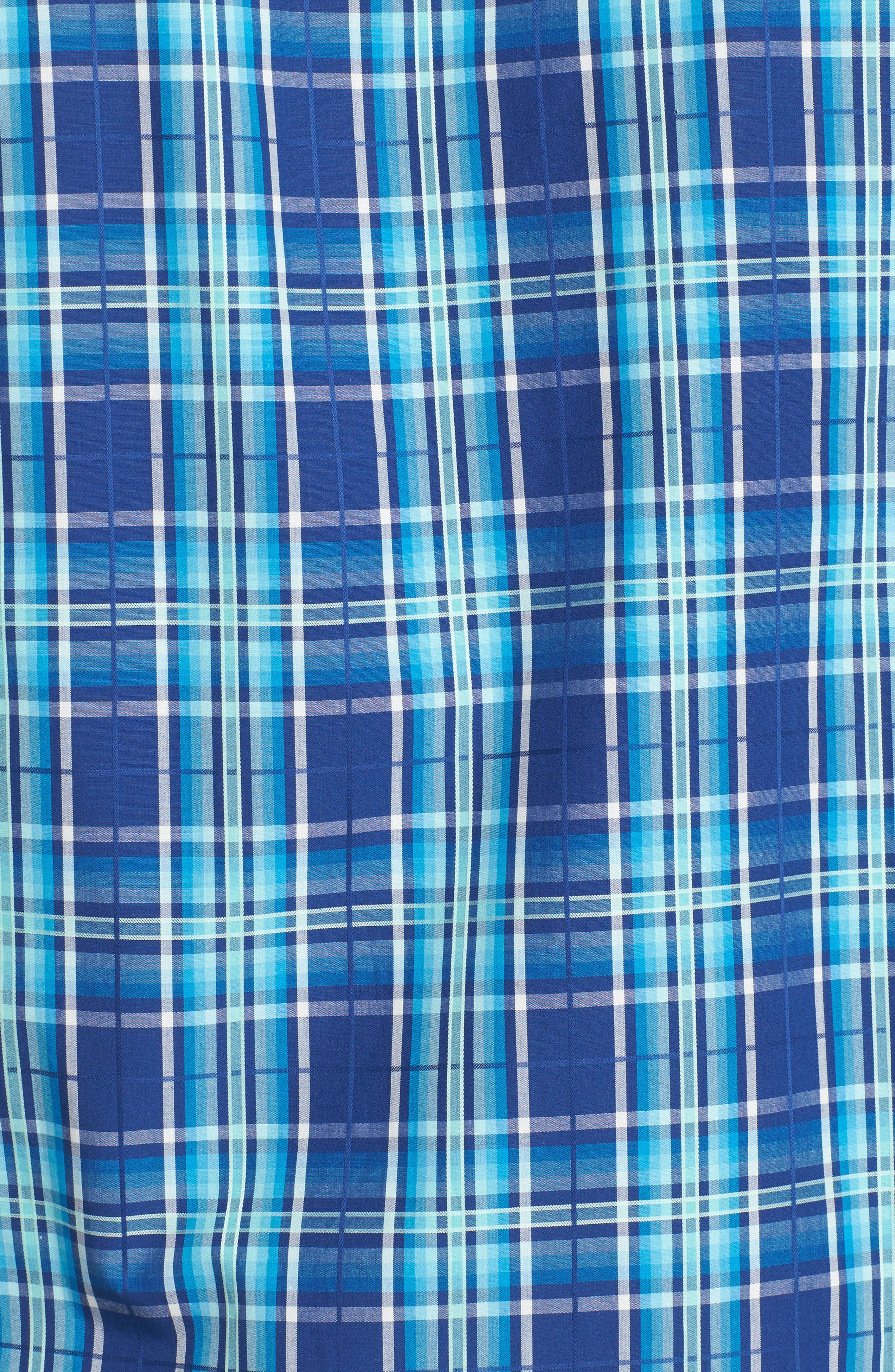 Shaped Fit Plaid Sport Shirt,                             Alternate thumbnail 5, color,                             Navy