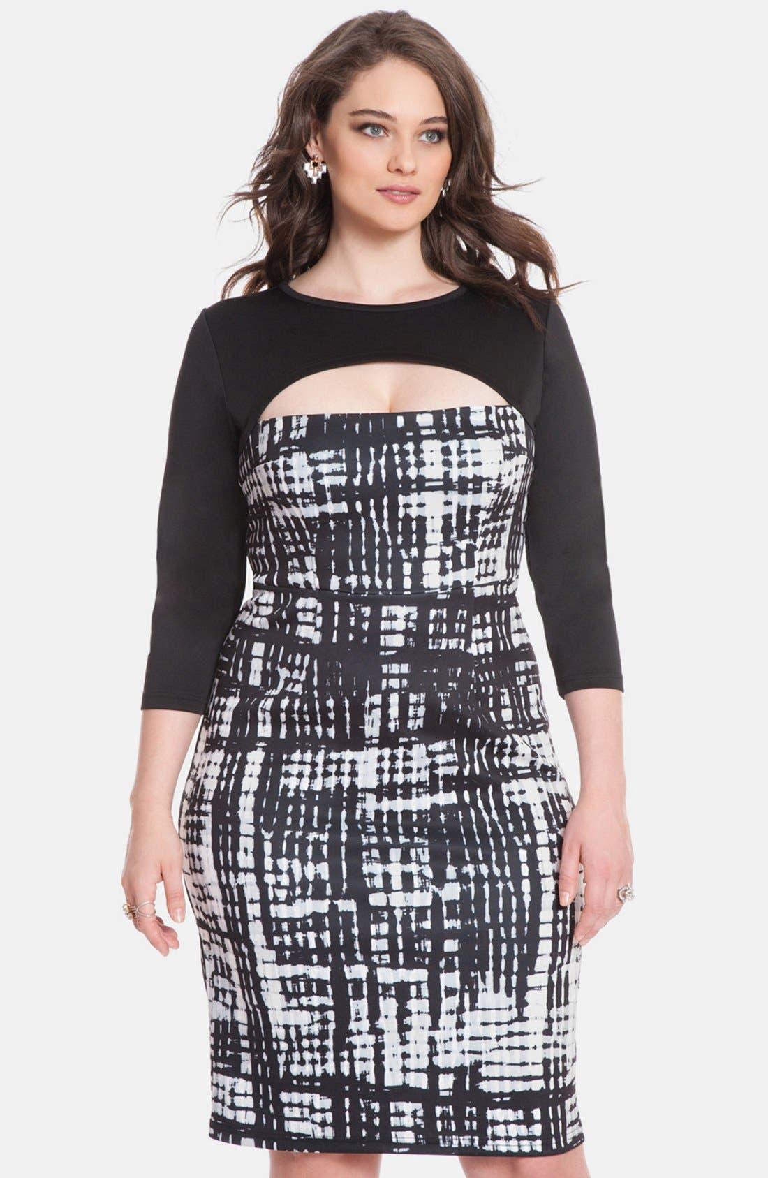 Alternate Image 1 Selected - ELOQUII Print Block Cutout Dress (Plus Size)